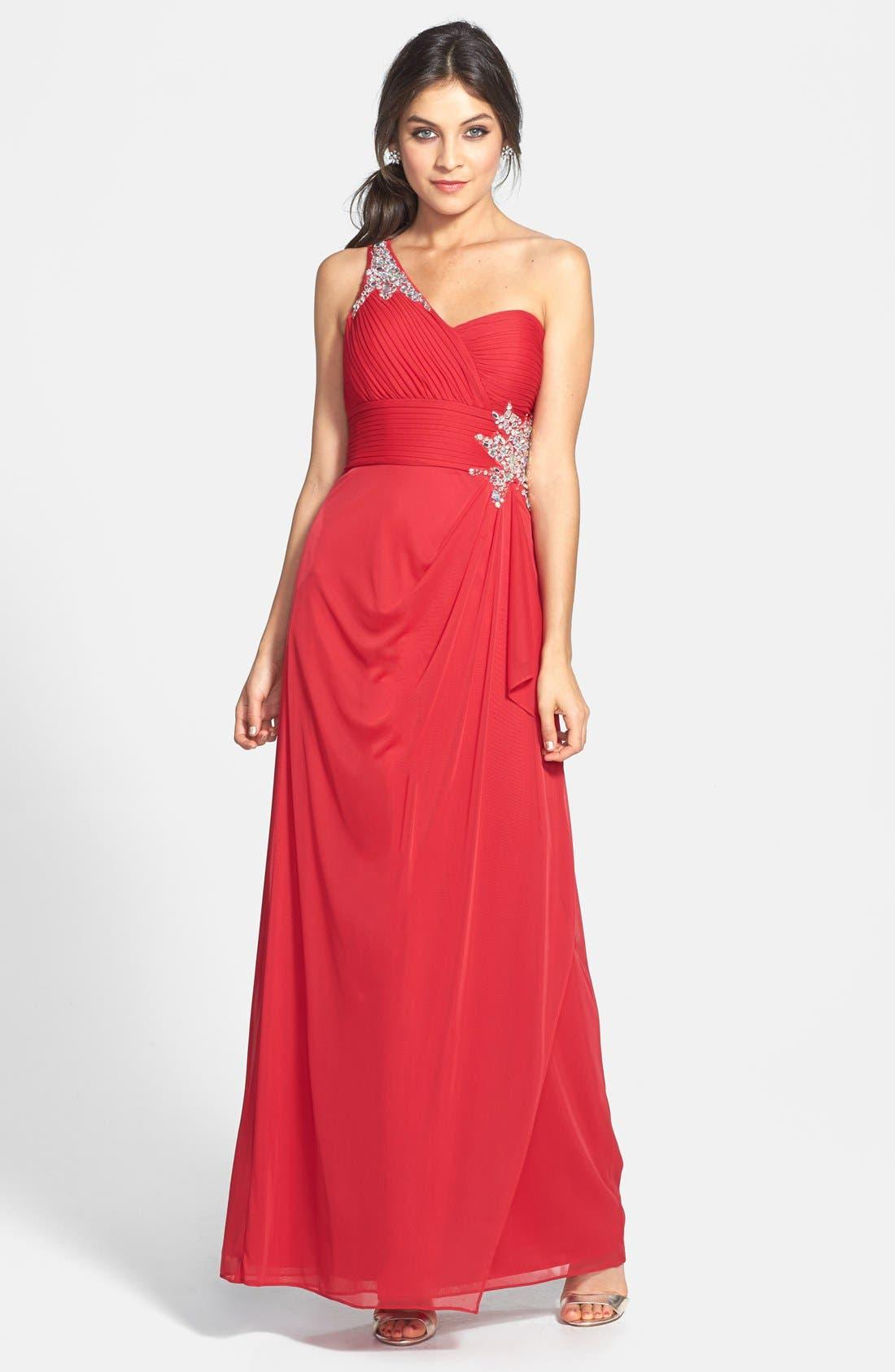 Main Image - Xscape Embellished One-Shoulder Gown