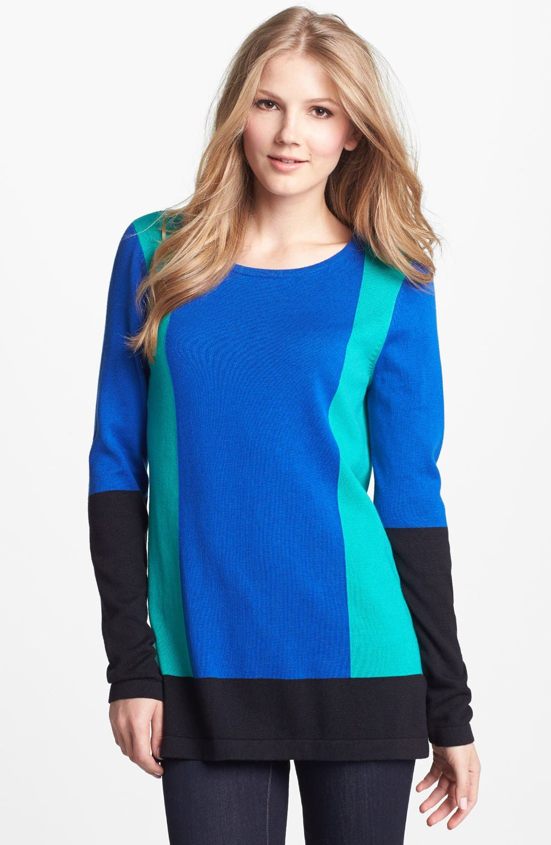 Alternate Image 1 Selected - Vince Camuto Colorblock Cotton Blend Sweater (Petite)