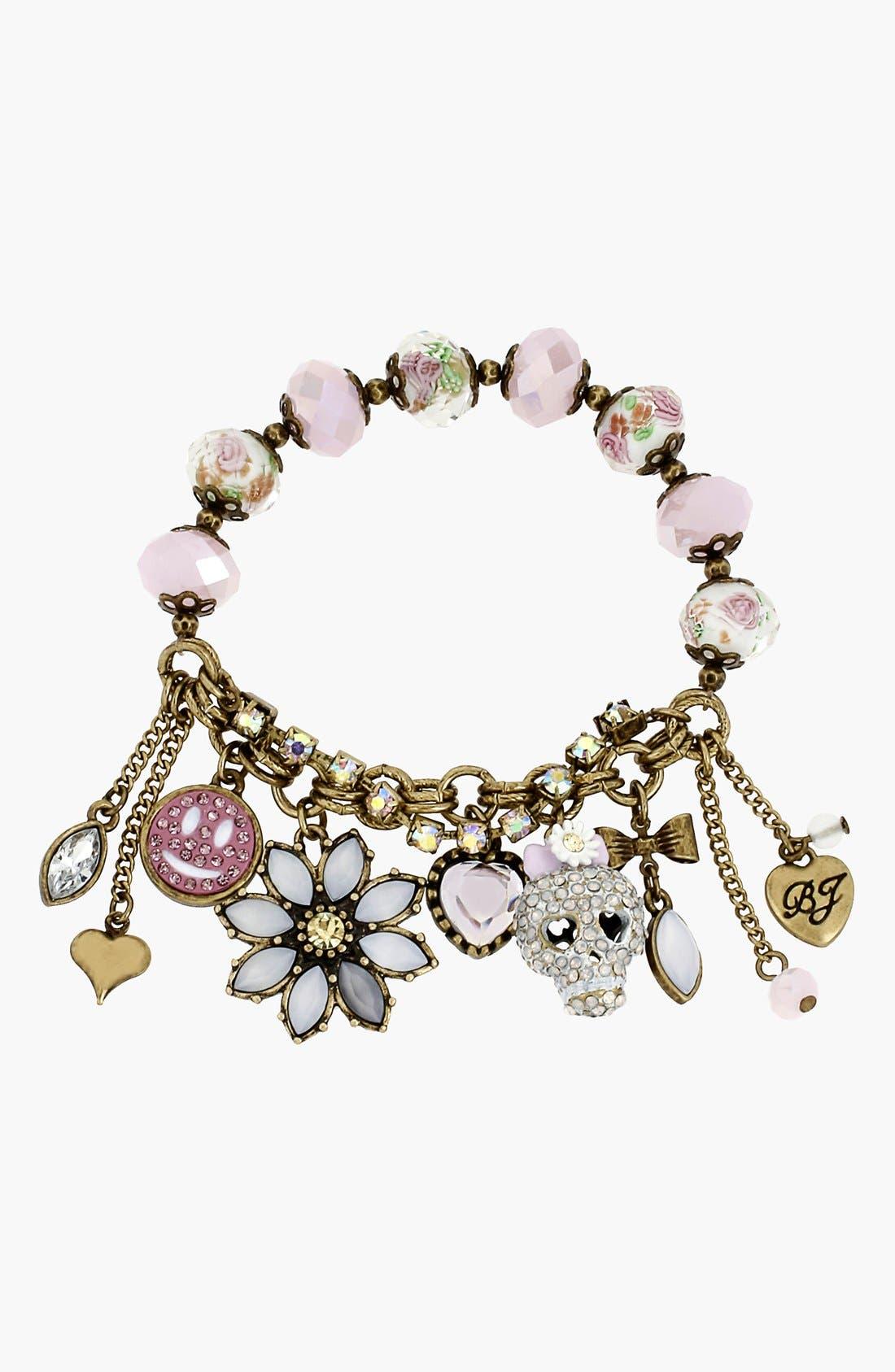 Alternate Image 1 Selected - Betsey Johnson 'Girlie Grunge' Stretch Charm Bracelet
