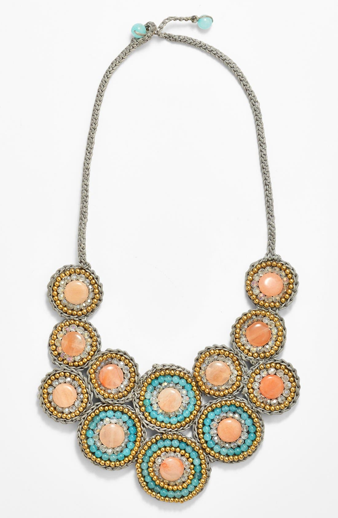 Stone Bib Necklace,                         Main,                         color, Pink Mint