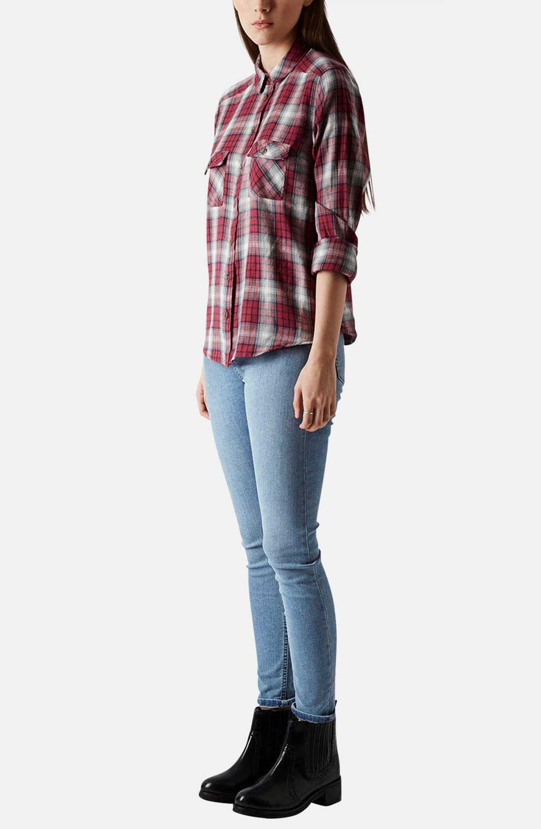 Alternate Image 5  - Topshop Moto 'Jamie' High Rise Skinny Jeans (Mid Stone)