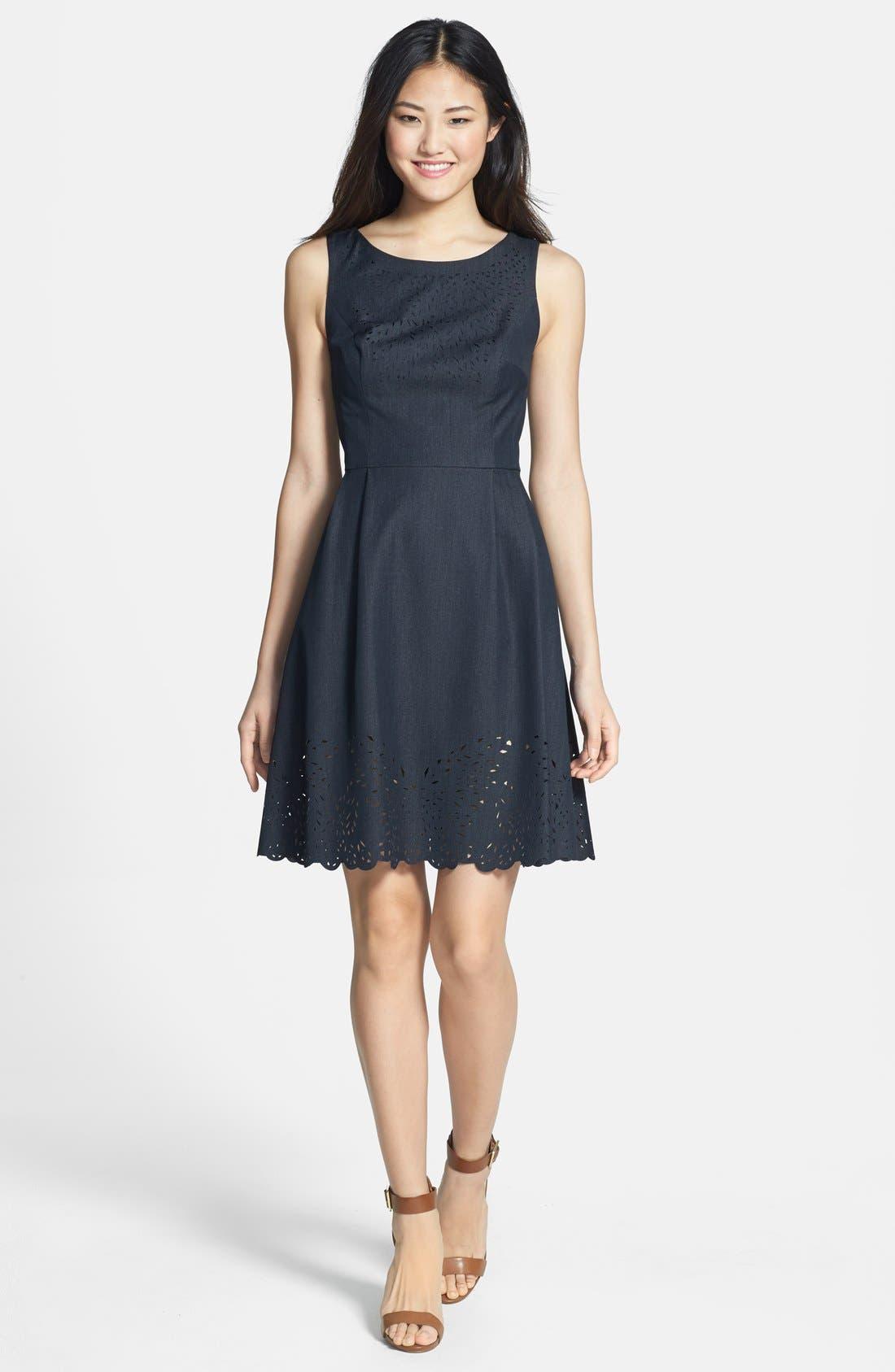 Main Image - Betsey Johnson Laser Cut Denim Fit & Flare Dress