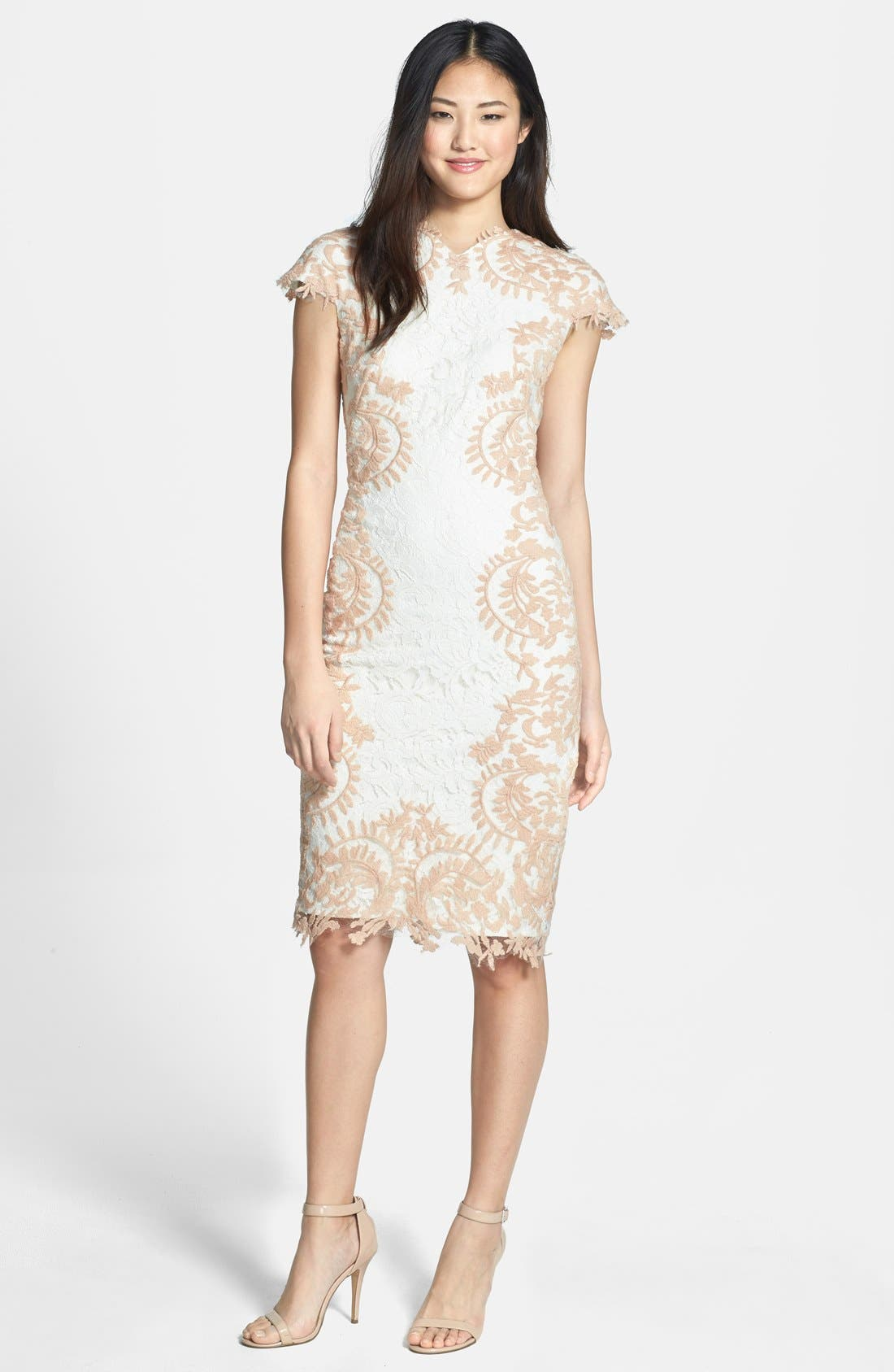 Alternate Image 3  - Tadashi Shoji Embroidered Detail Lace Sheath Dress