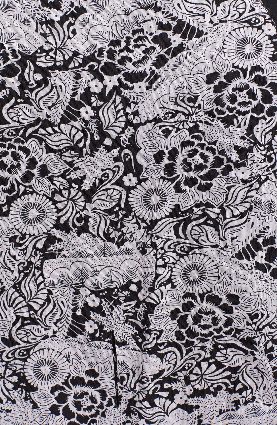 Floral Print Baseball Jacket,                             Alternate thumbnail 3, color,                             Black Combo