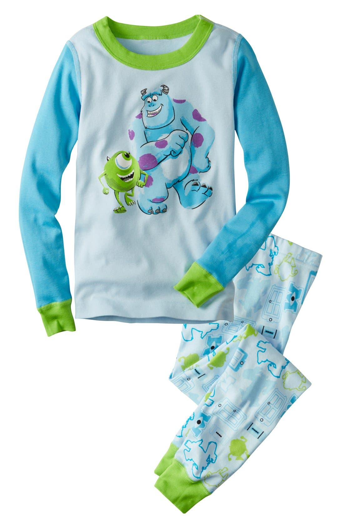 Main Image - Hanna Andersson 'Monsters Inc.™' Two-Piece Organic Cotton Fitted Pajamas (Toddler Boys & Little Boys)