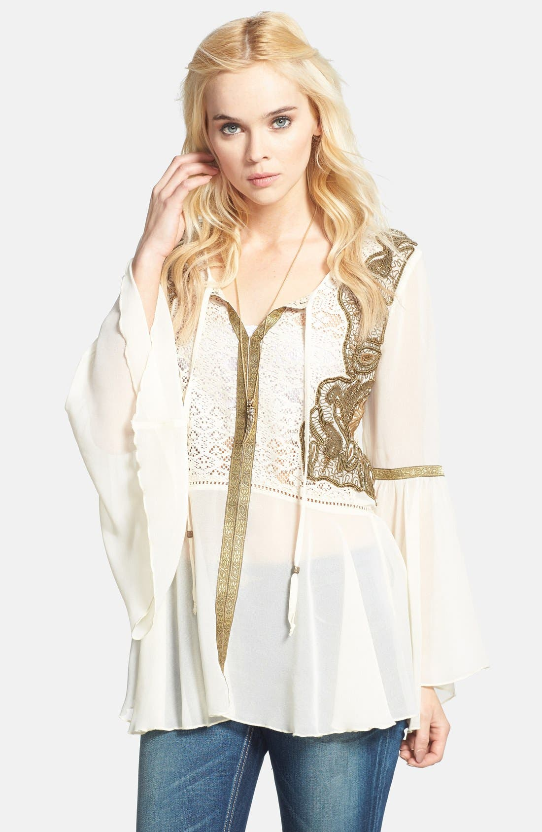Main Image - Free People 'Golden Moments' Embroidered Lace Inset Tunic