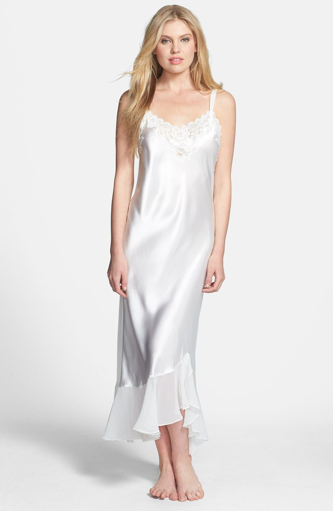 Alternate Image 1 Selected - Oscar de la Renta Sleepwear 'Evening Bliss' Satin Charmeuse Nightgown