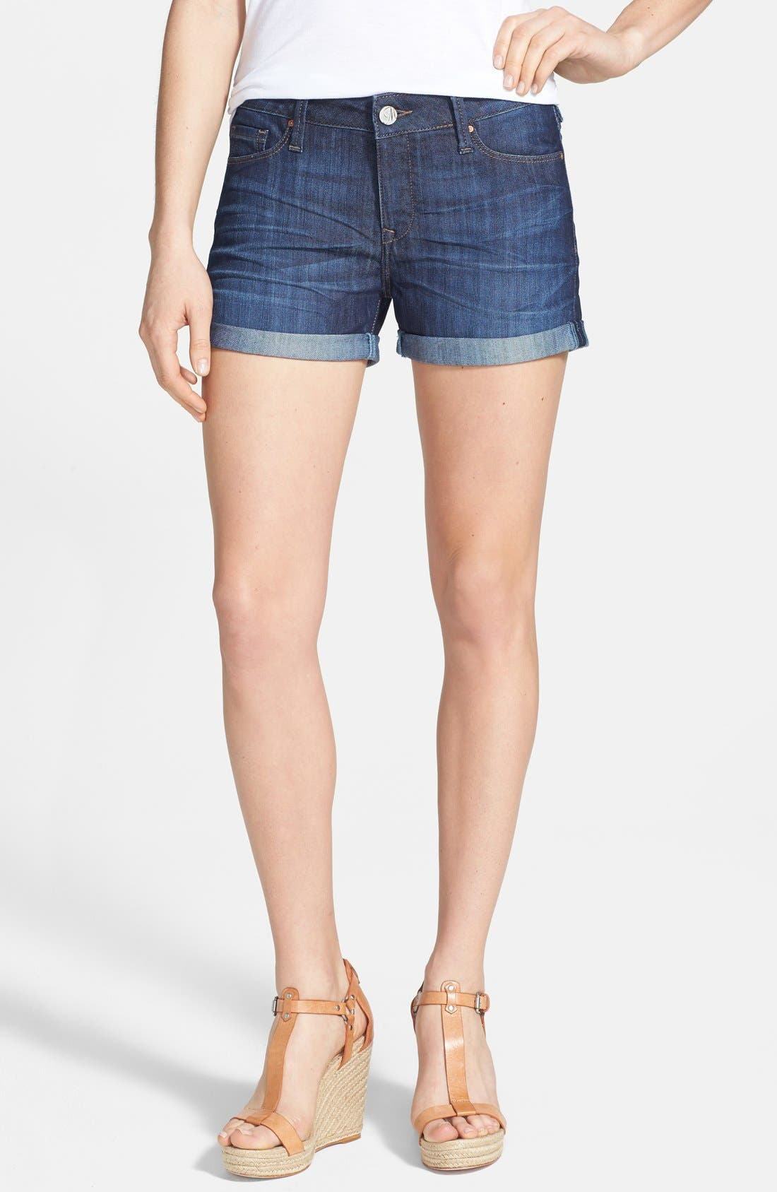 Alternate Image 1 Selected - Mavi Jeans 'Emily' Roll Cuff Denim Shorts (Dark Nolita)