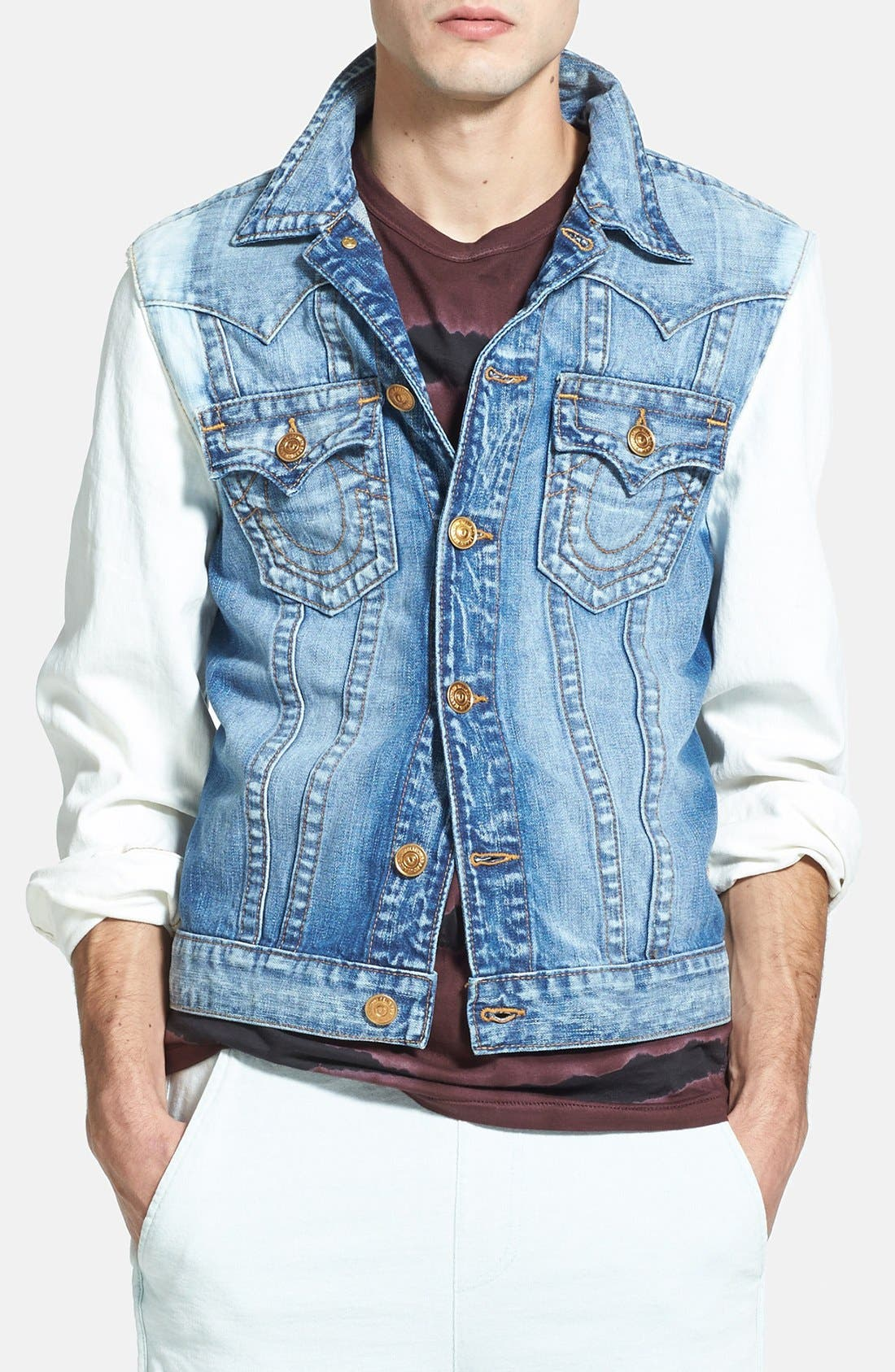 Alternate Image 1 Selected - True Religion Brand Jeans 'Jimmy' Trim Fit Washed Denim Jacket
