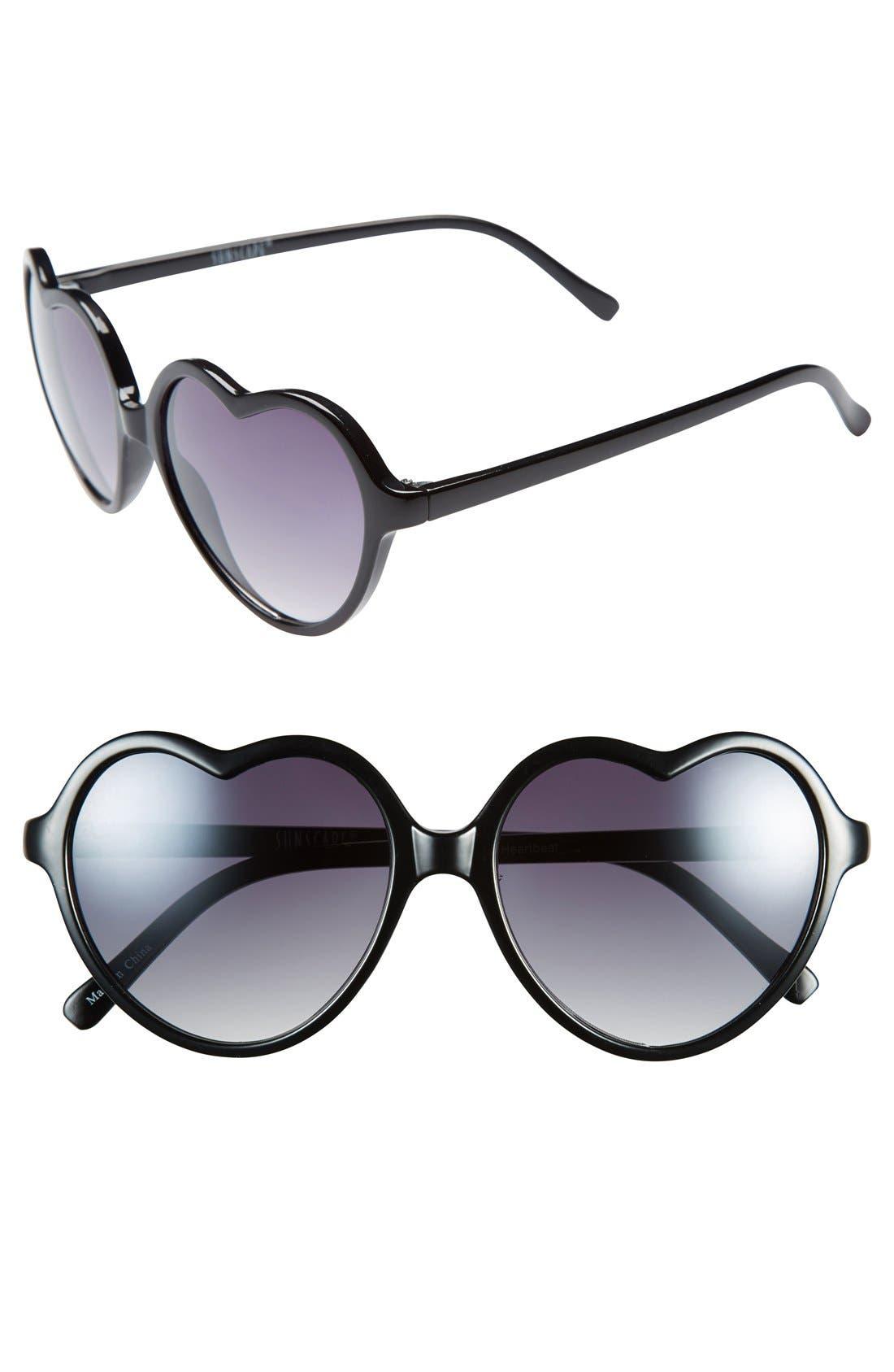 'Luv' Tortoiseshell Heart 55mm Sunglasses,                             Main thumbnail 1, color,                             Black
