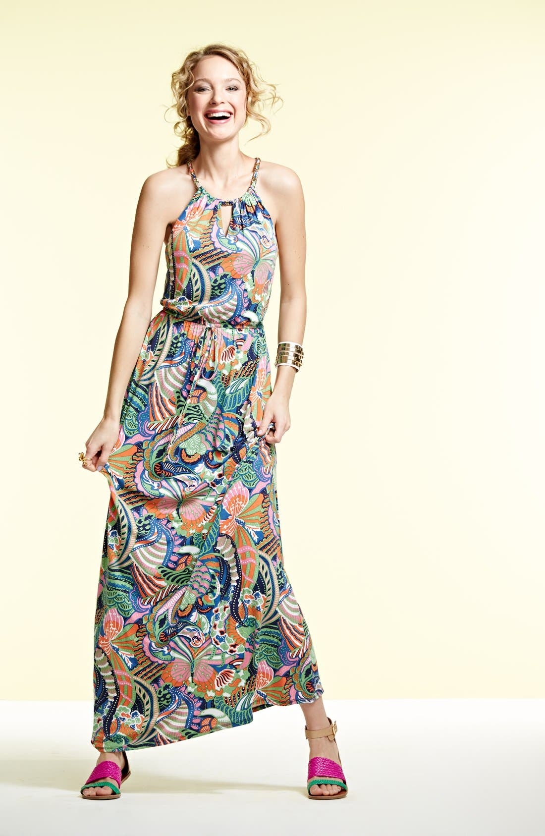 Alternate Image 4  - Laundry by Shelli Segal Front Keyhole Print Maxi Dress