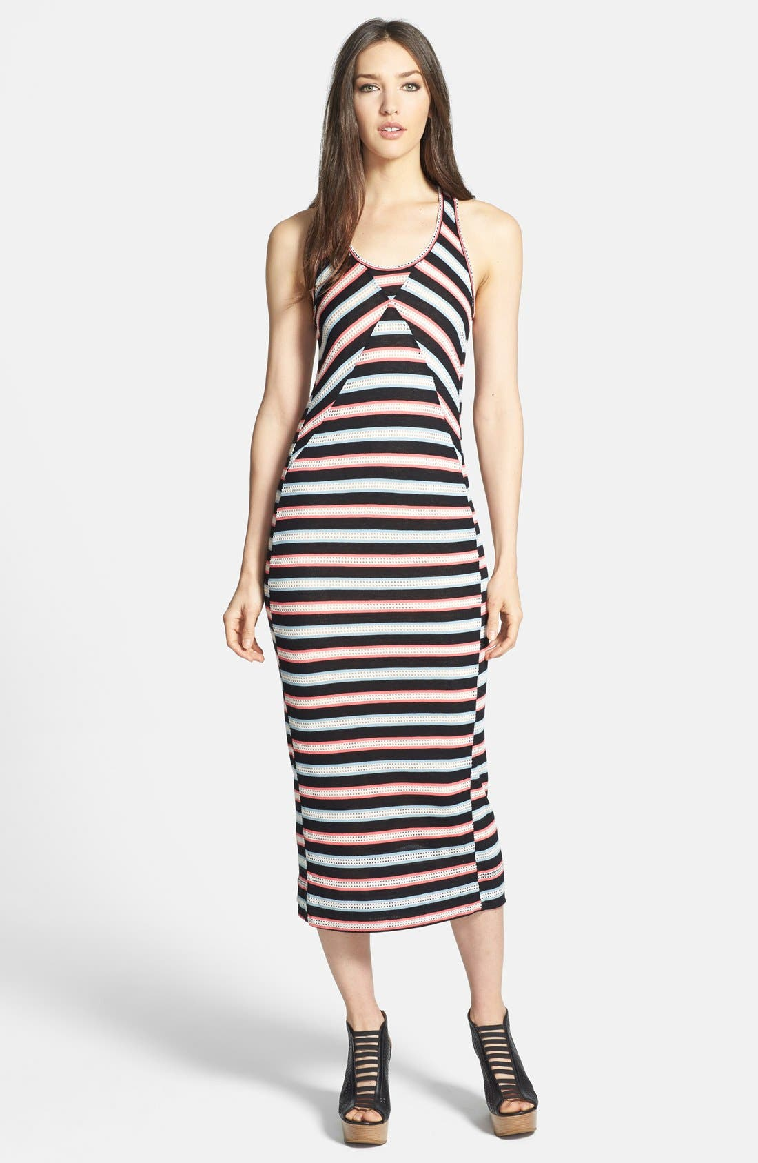 Main Image - MARC BY MARC JACOBS 'Miriam' Mesh Stripe Racerback Maxi Dress