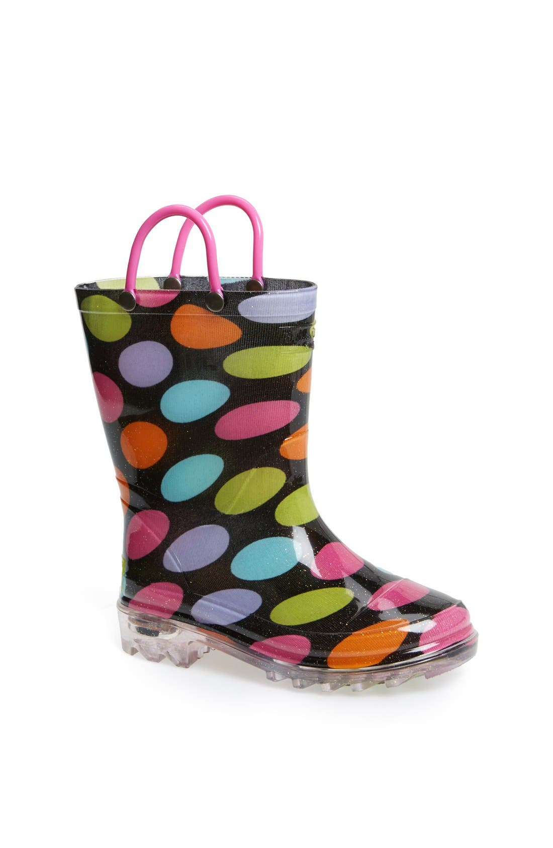 Alternate Image 1 Selected - Western Chief 'Dotty' Light Up Rain Boot (Toddler & Little Kid)