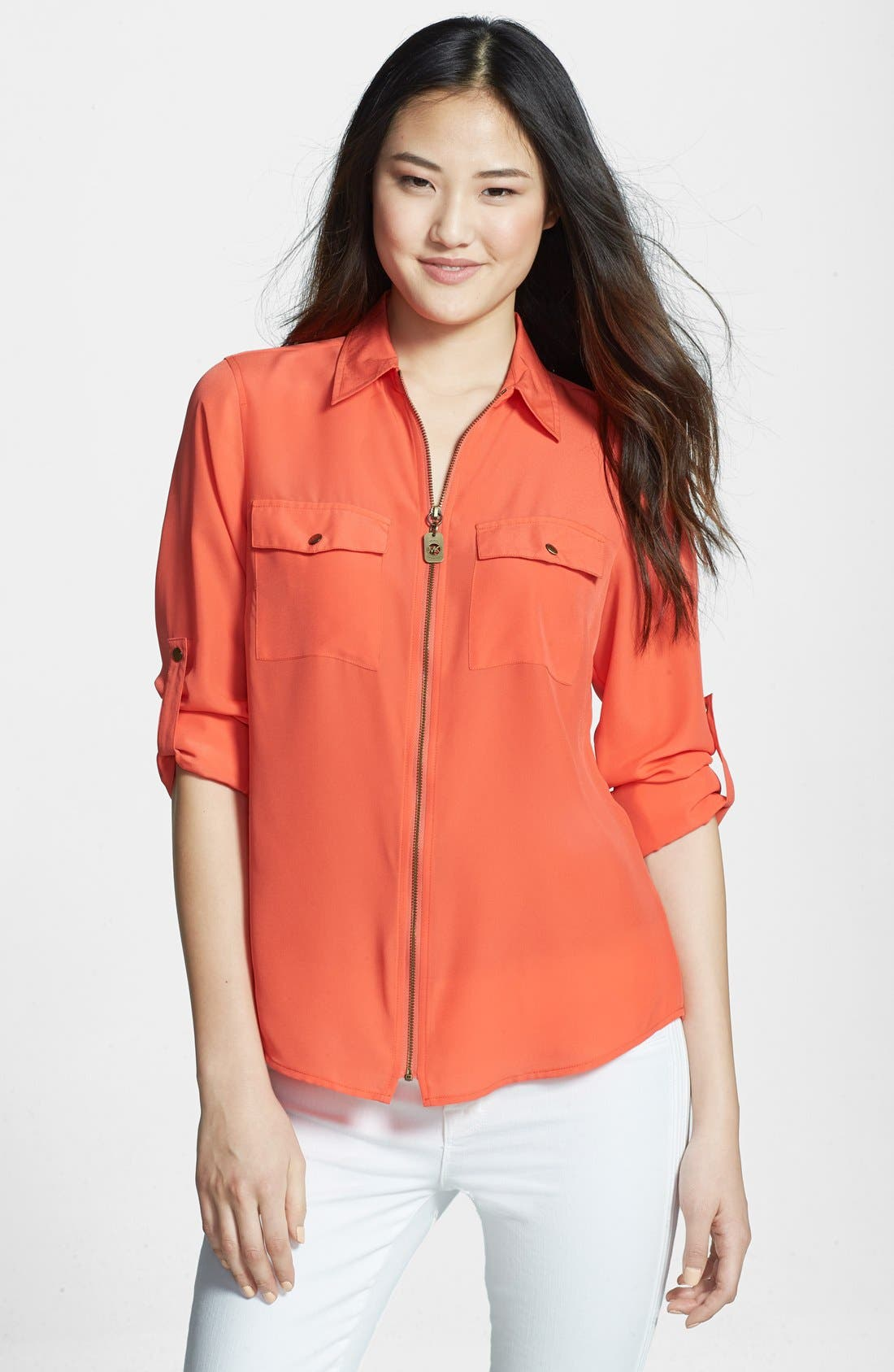 Alternate Image 1 Selected - MICHAEL Michael Kors Zip Safari Shirt (Regular & Petite)