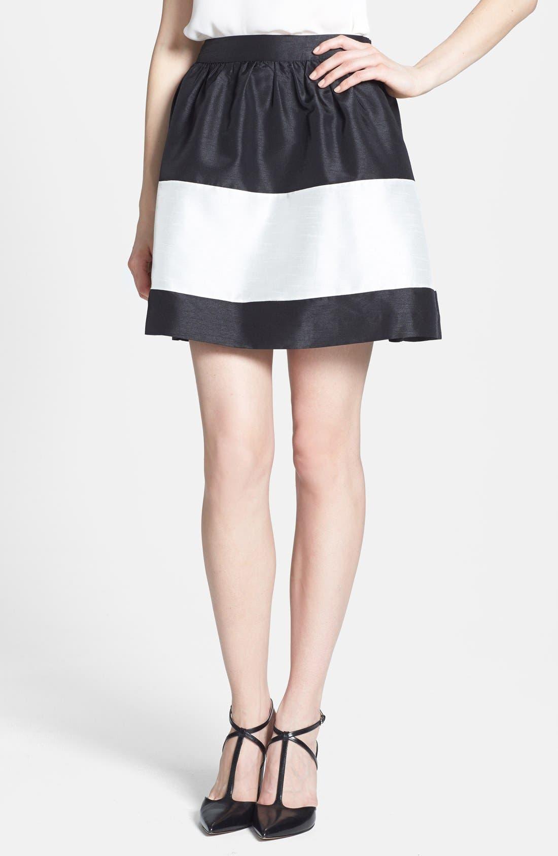 Colorblock Shantung Skirt,                         Main,                         color, Black Combo