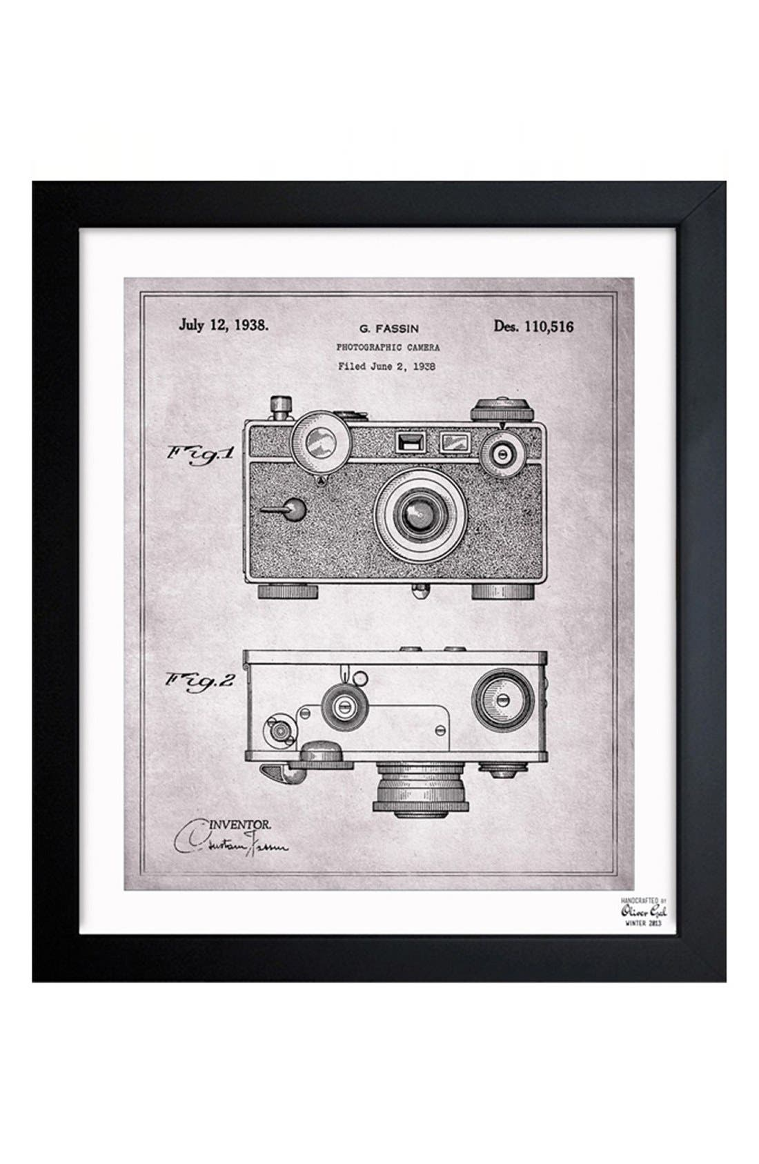Alternate Image 1 Selected - Oliver Gal 'Camera Blueprint' Framed Print
