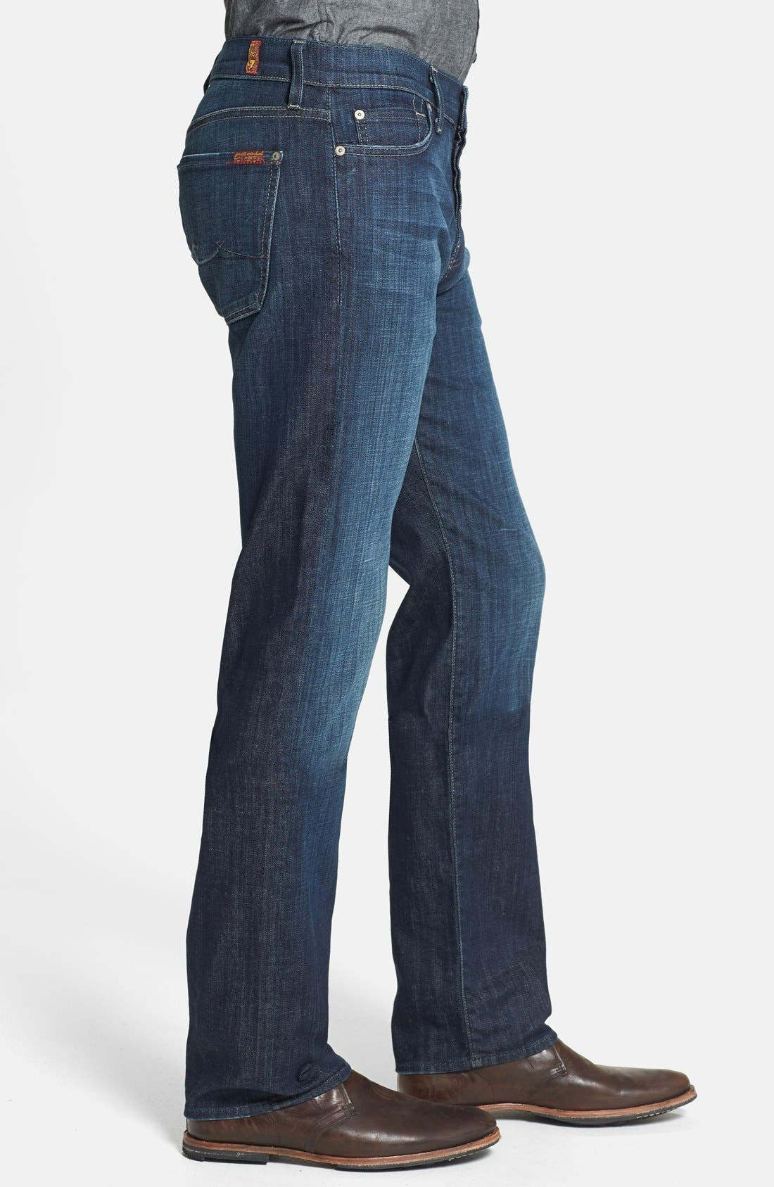 Alternate Image 3  - 7 For All Mankind® 'Standard' Straight Leg Jeans (Los Angeles Dark)