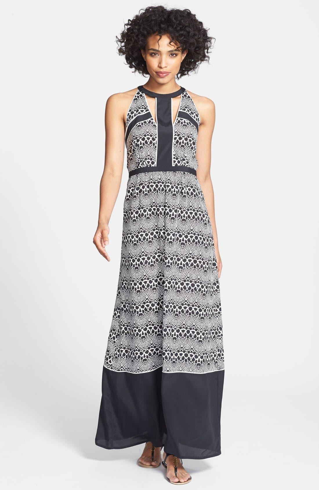 Main Image - Ivy & Blu Cutout Print Chiffon Maxi Dress