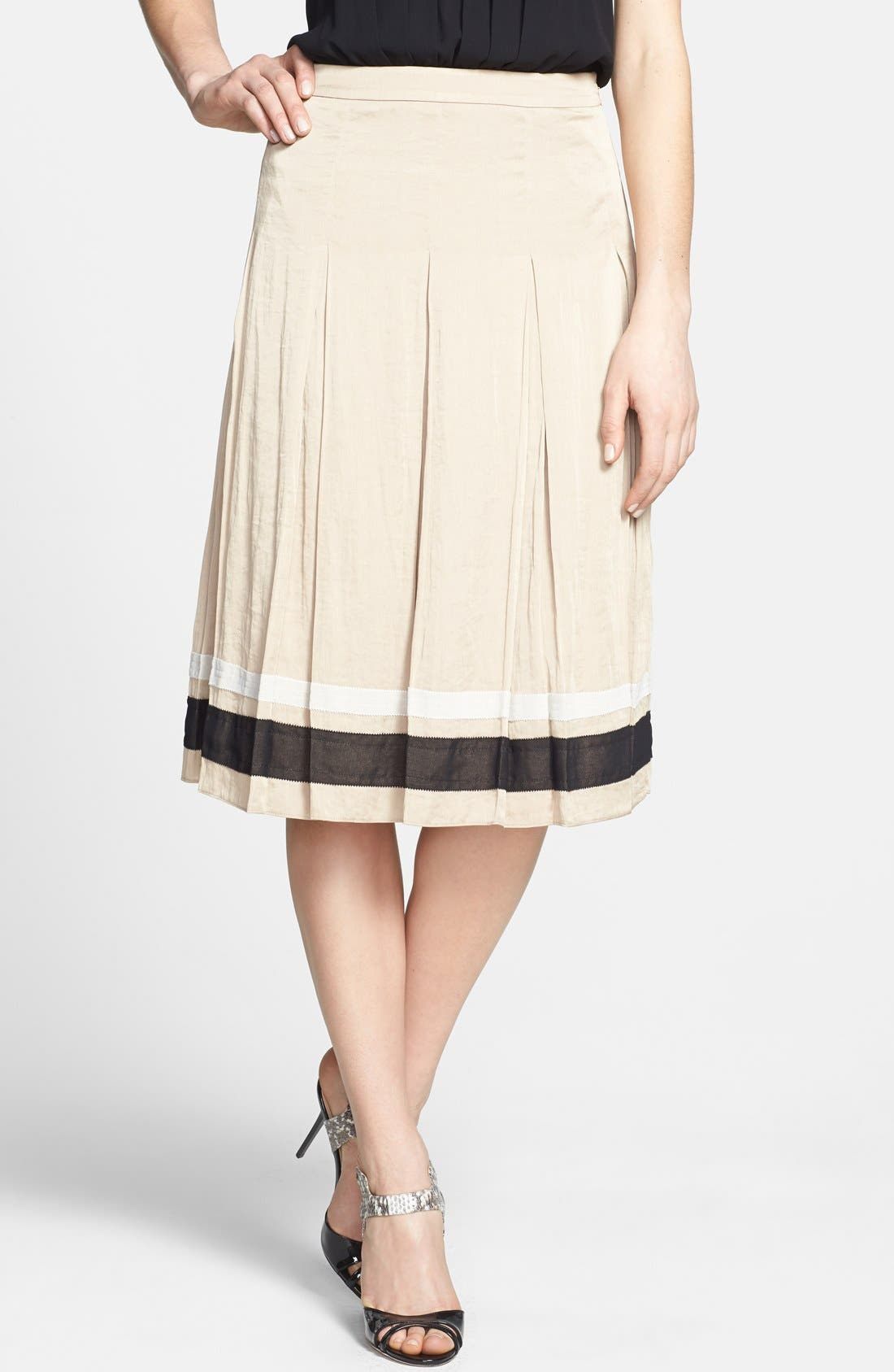 Ribbon Trim Pleated Skirt,                         Main,                         color, Nude