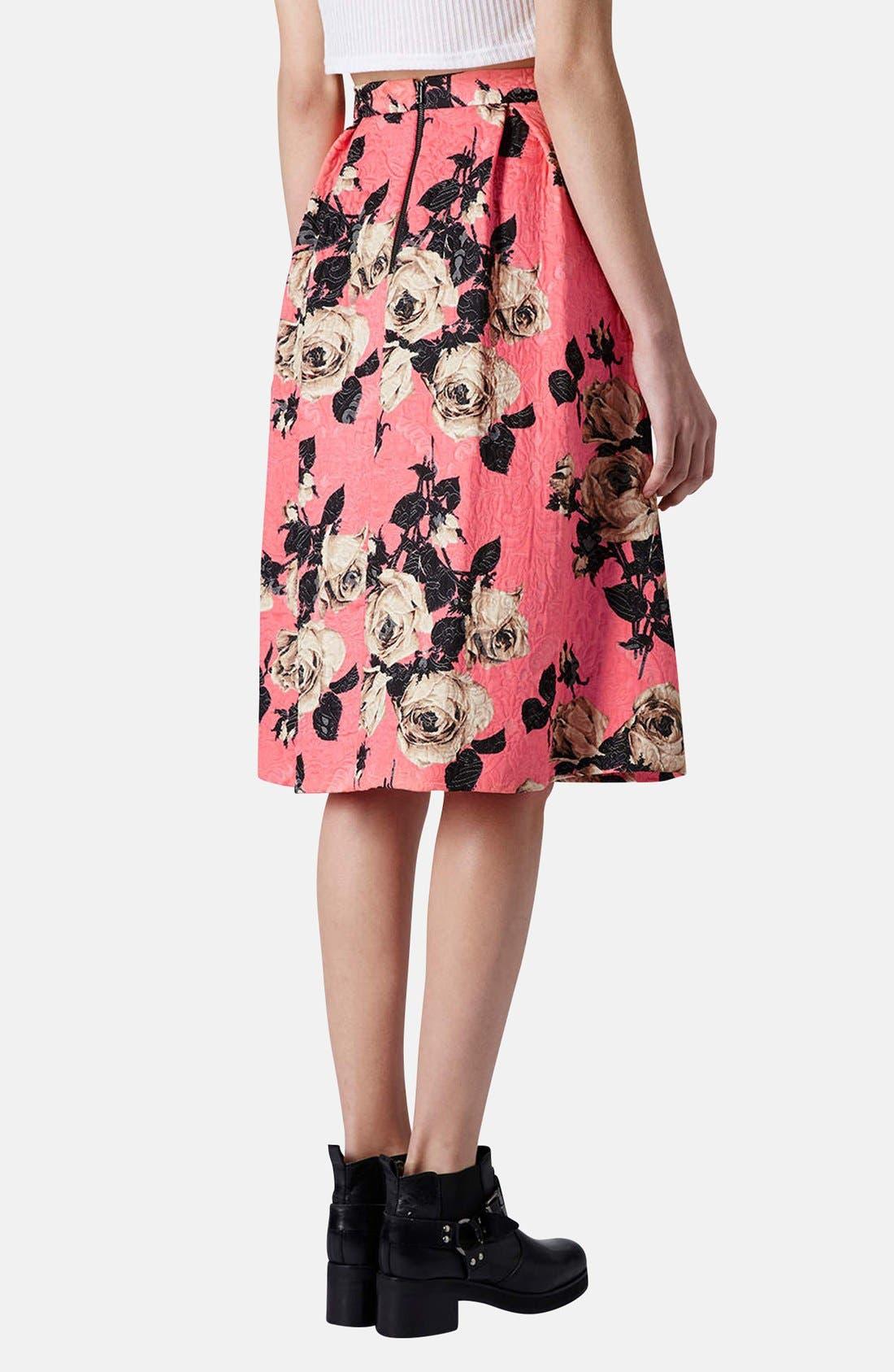 Alternate Image 2  - Topshop Textured Rose Print Midi Skirt