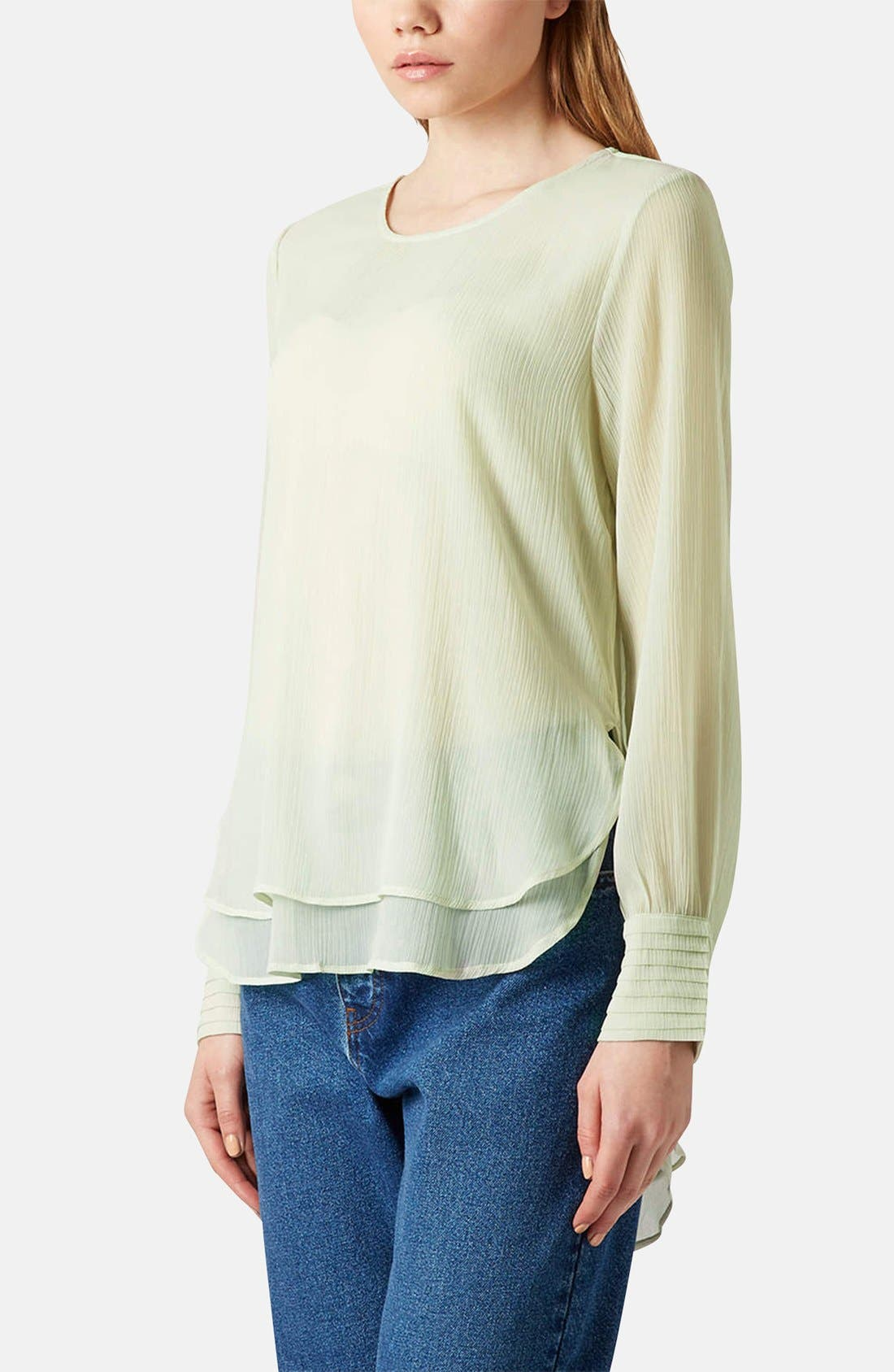 Alternate Image 1 Selected - Topshop Pleated Cuff Chiffon Blouse