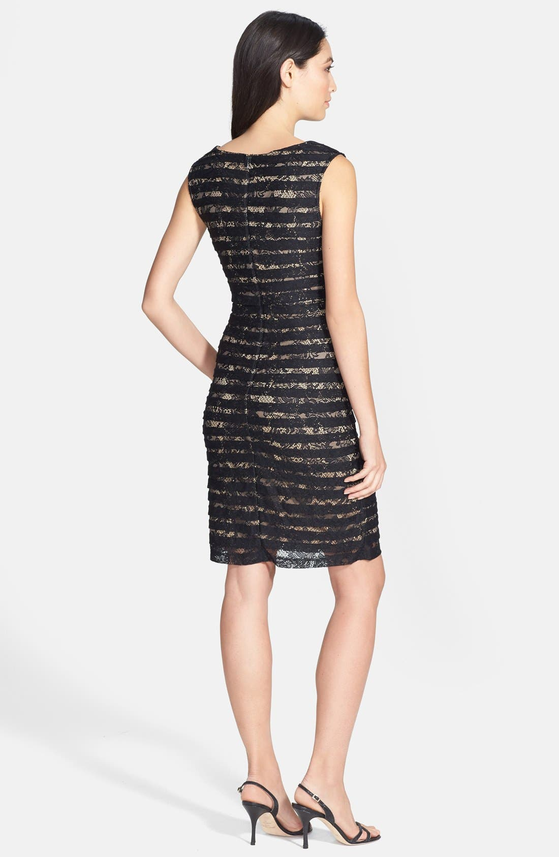 Alternate Image 2  - Adrianna Papell Crossover Bodice Banded Lace Dress