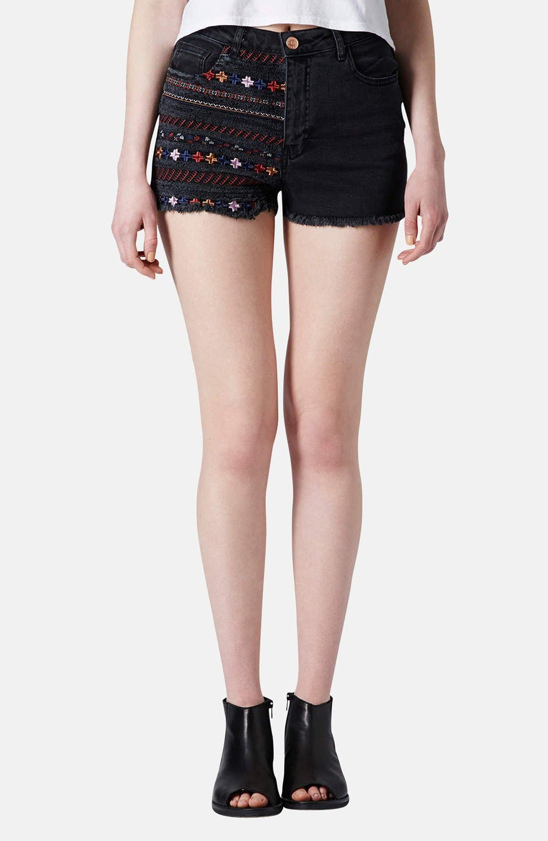 Main Image - Topshop Moto Embroidered Denim Cutoff Shorts