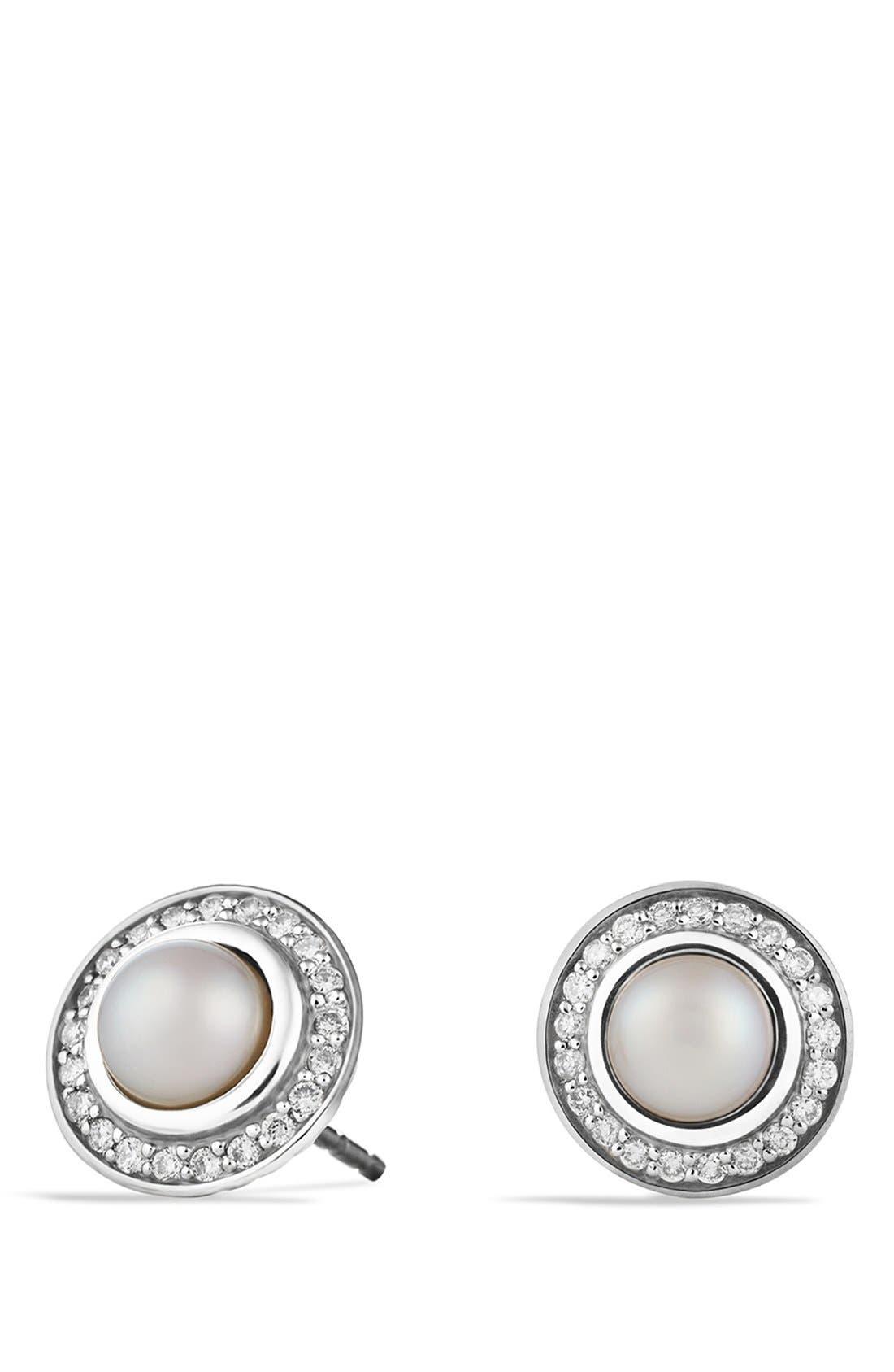 'Cerise' Mini Earrings with Semiprecious Stone & Diamonds,                         Main,                         color, Pearl