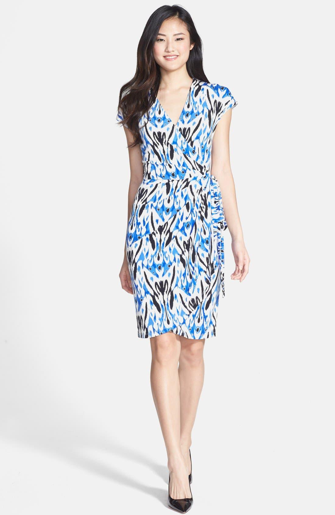 Alternate Image 2  - Maggy London Print Short Sleeve Wrap Dress