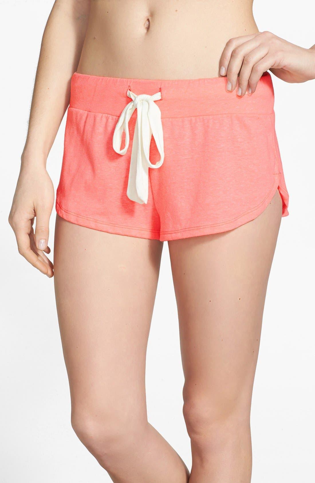 Heather Knit Shorts,                             Main thumbnail 1, color,                             Melon Glow