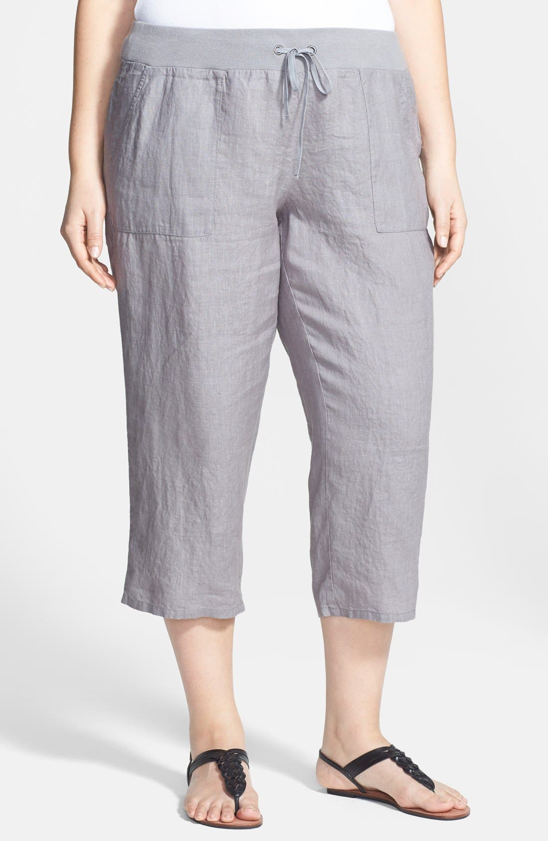 Alternate Image 1 Selected - Eileen Fisher Organic Linen Capri Pants (Plus Size)