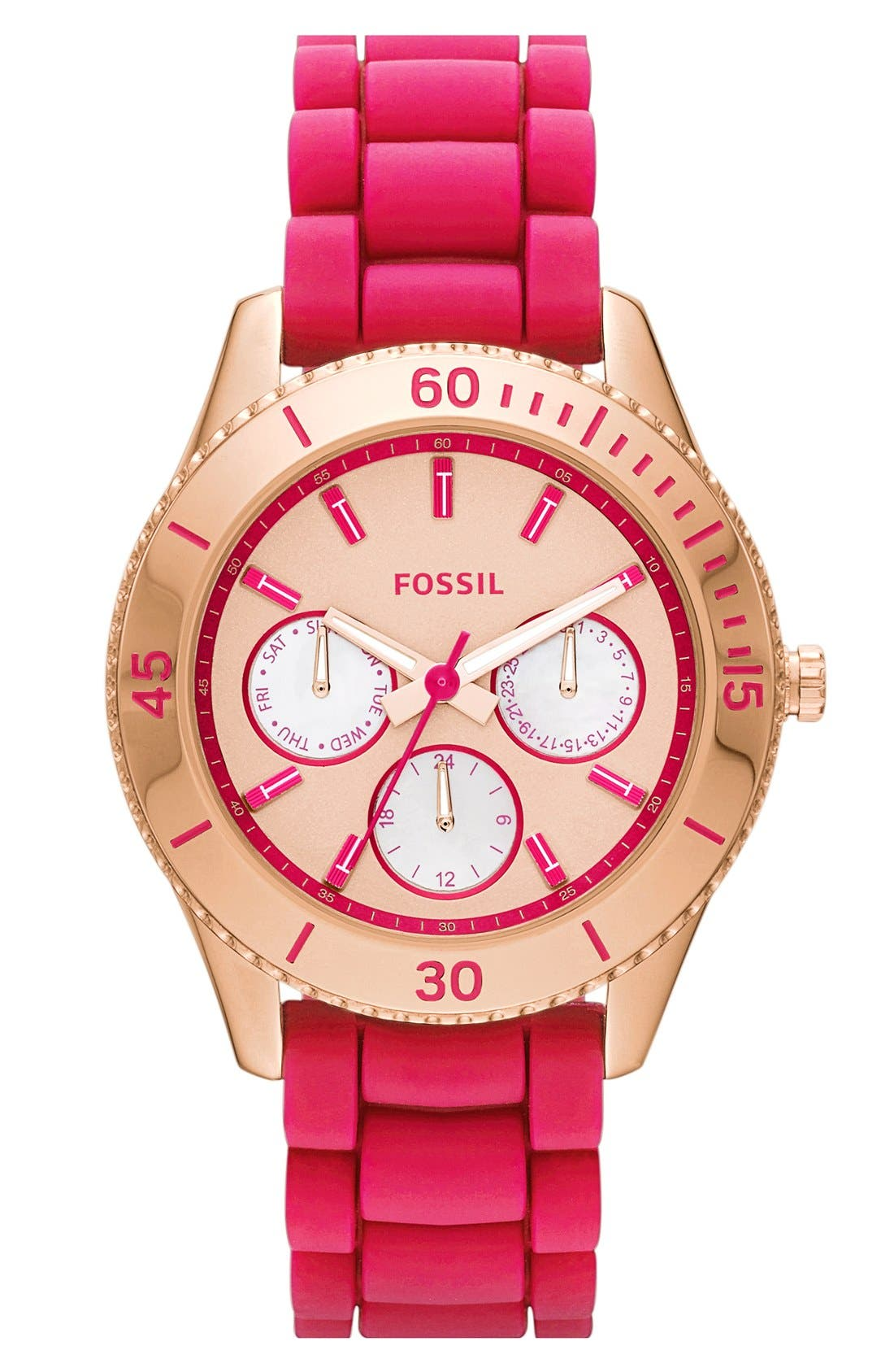 Alternate Image 1 Selected - Fossil 'Stella' Multifunction Silicone Strap Watch, 37mm