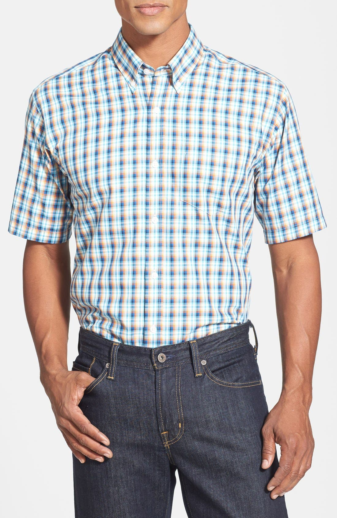 Main Image - Cutter & Buck 'Morton Road' Classic Fit Short Sleeve Plaid Sport Shirt (Big & Tall)
