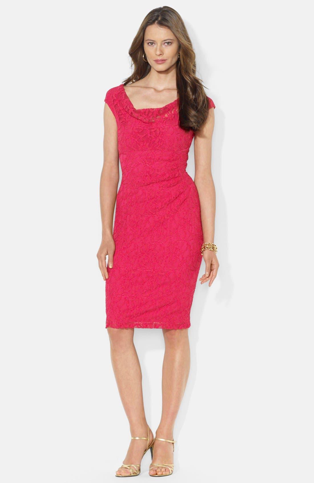 Main Image - Lauren Ralph Lauren Cowl Neck Stretch Lace Sheath Dress (Petite)