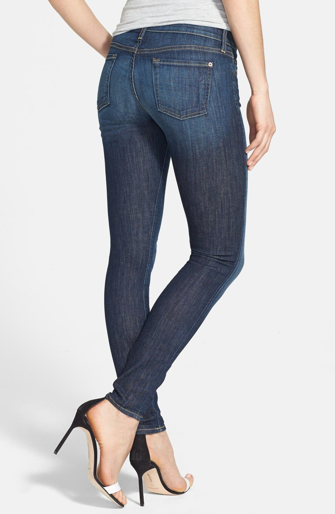 Alternate Image 2  - 7 For All Mankind® 'The Skinny' Mid Rise Skinny Jeans (Nouveau New York Dark)