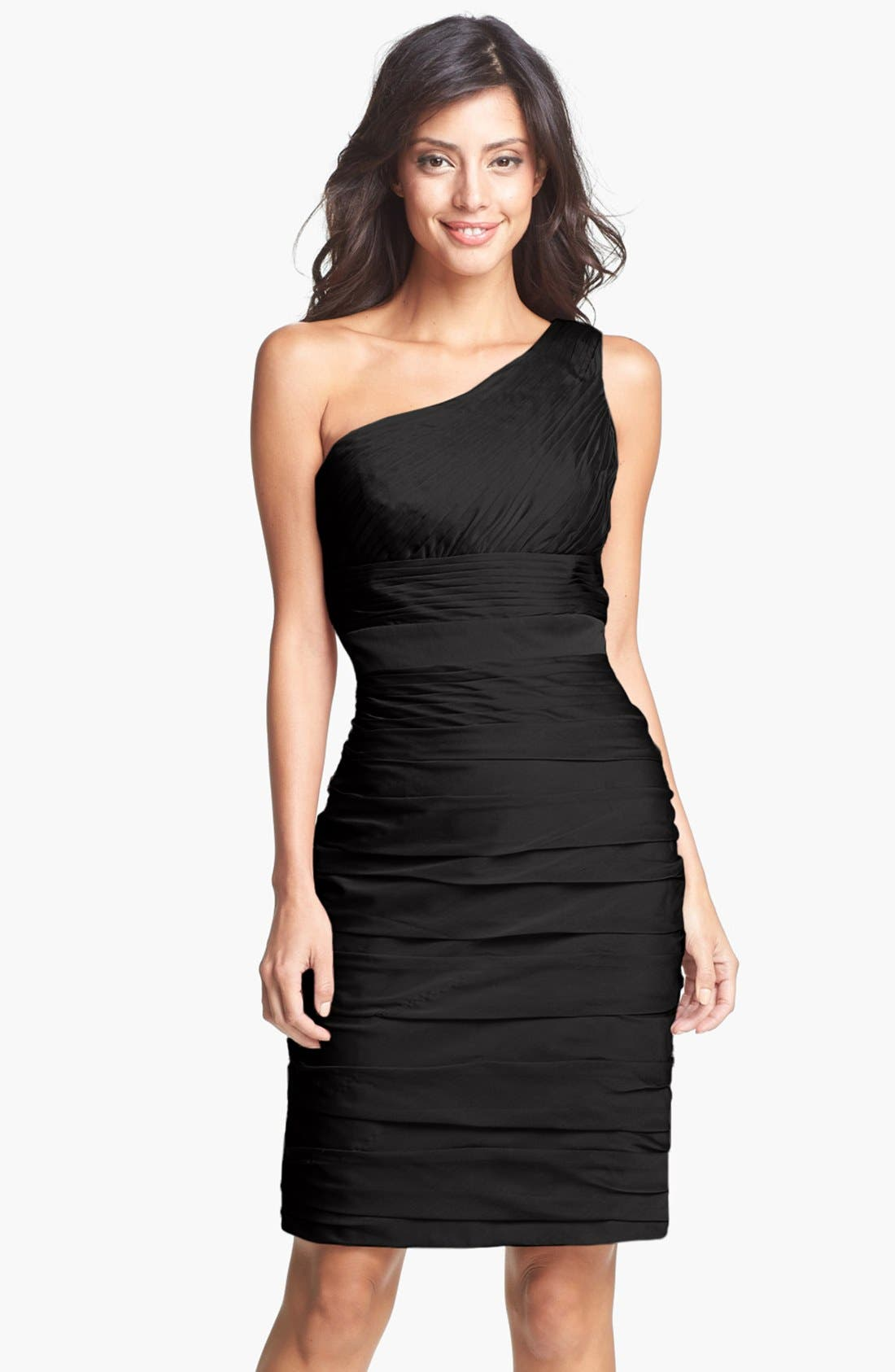 Main Image - ML Monique Lhuillier Bridesmaids Ruched One-Shoulder Sheath Dress (Nordstrom Exclusive)