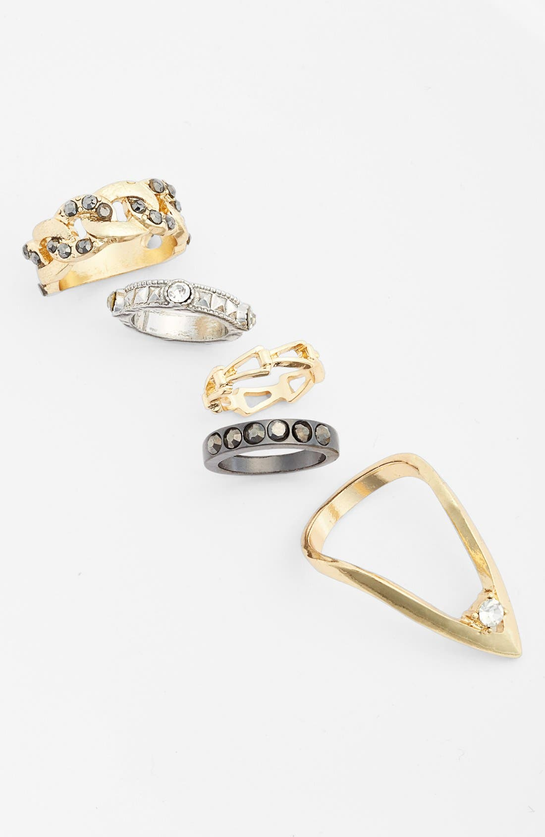 Alternate Image 1 Selected - Topshop Mixed Stackable Rings (Set of 5)