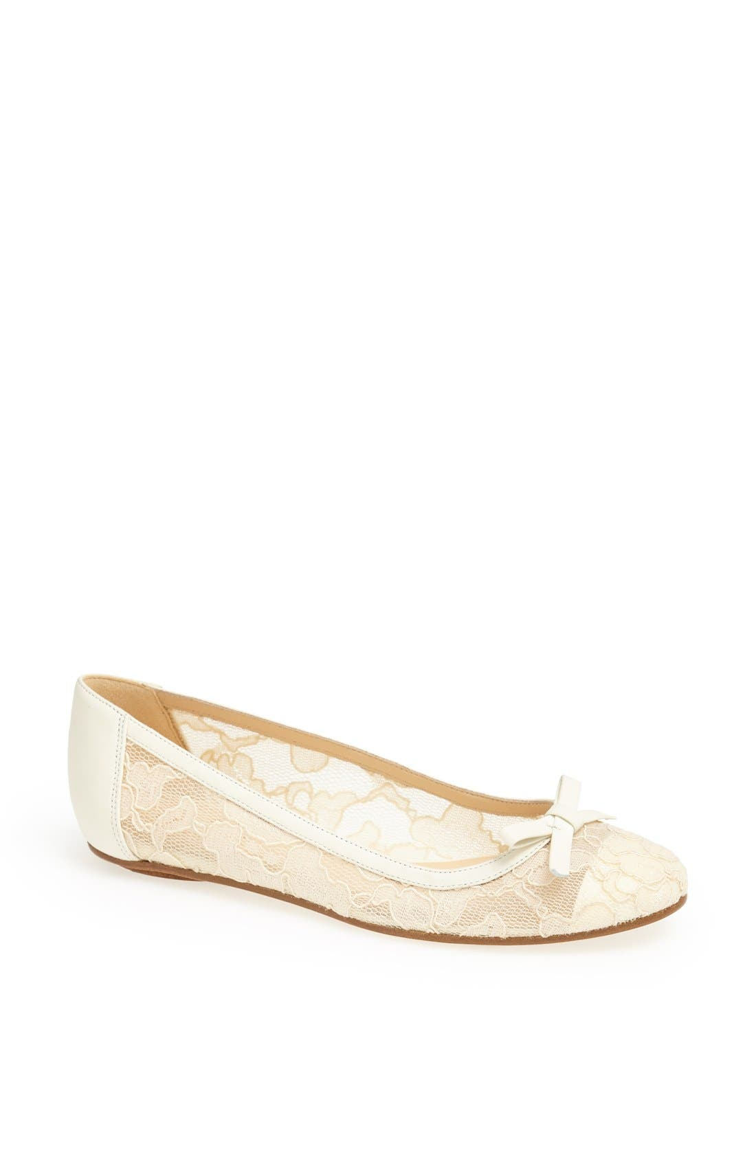 Main Image - kate spade new york 'banner' lace & leather flat
