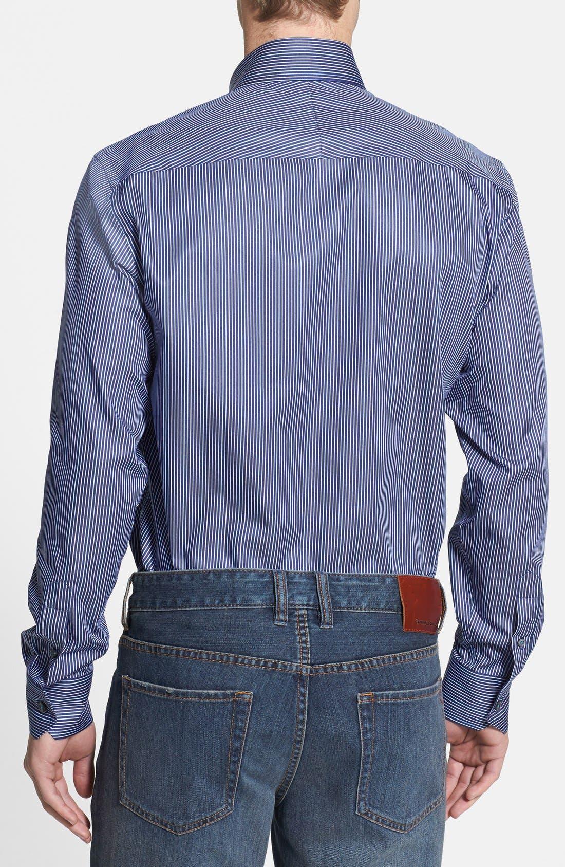Alternate Image 2  - Robert Talbott Trim Fit Stripe Woven Sport Shirt