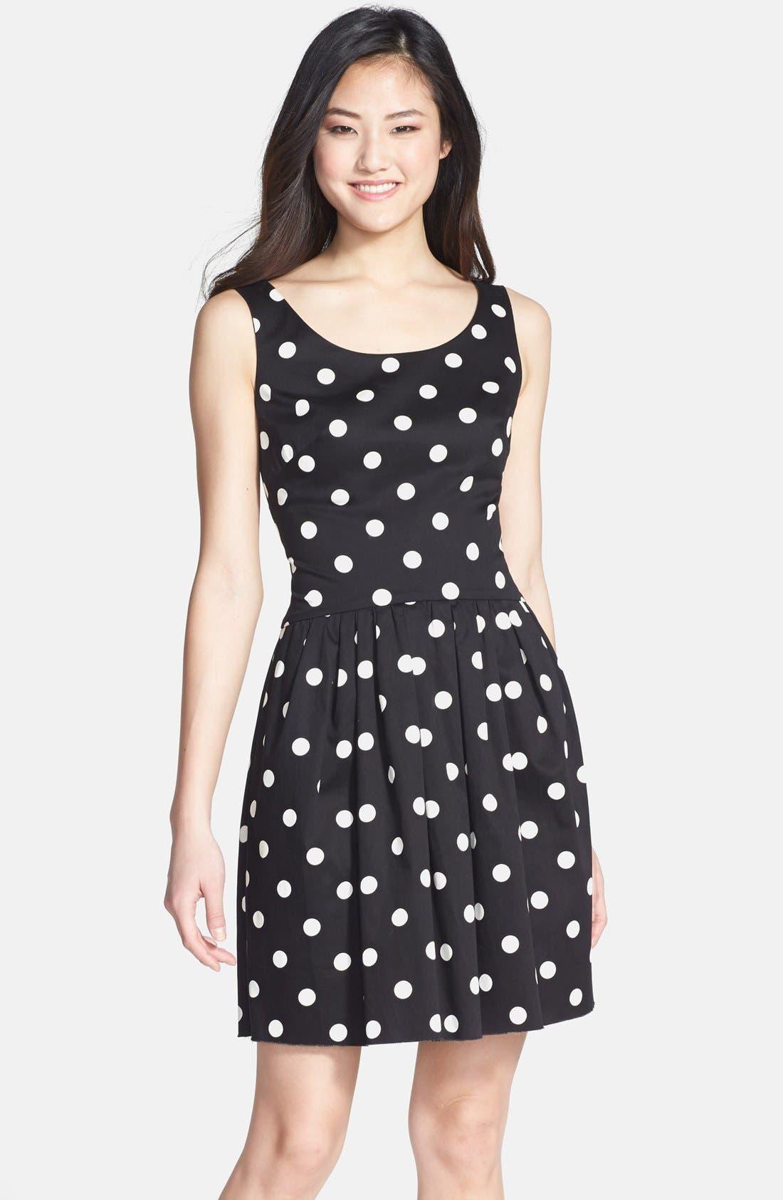 Alternate Image 1 Selected - Betsey Johnson Polka Dot Bow Detail Fit & Flare Dress