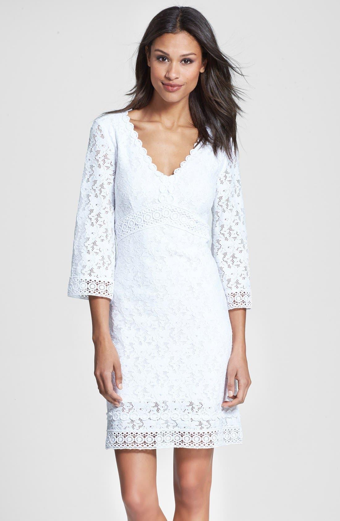 Main Image - Laundry by Shelli Segal Back Cutout Lace Shift Dress (Regular & Petite)