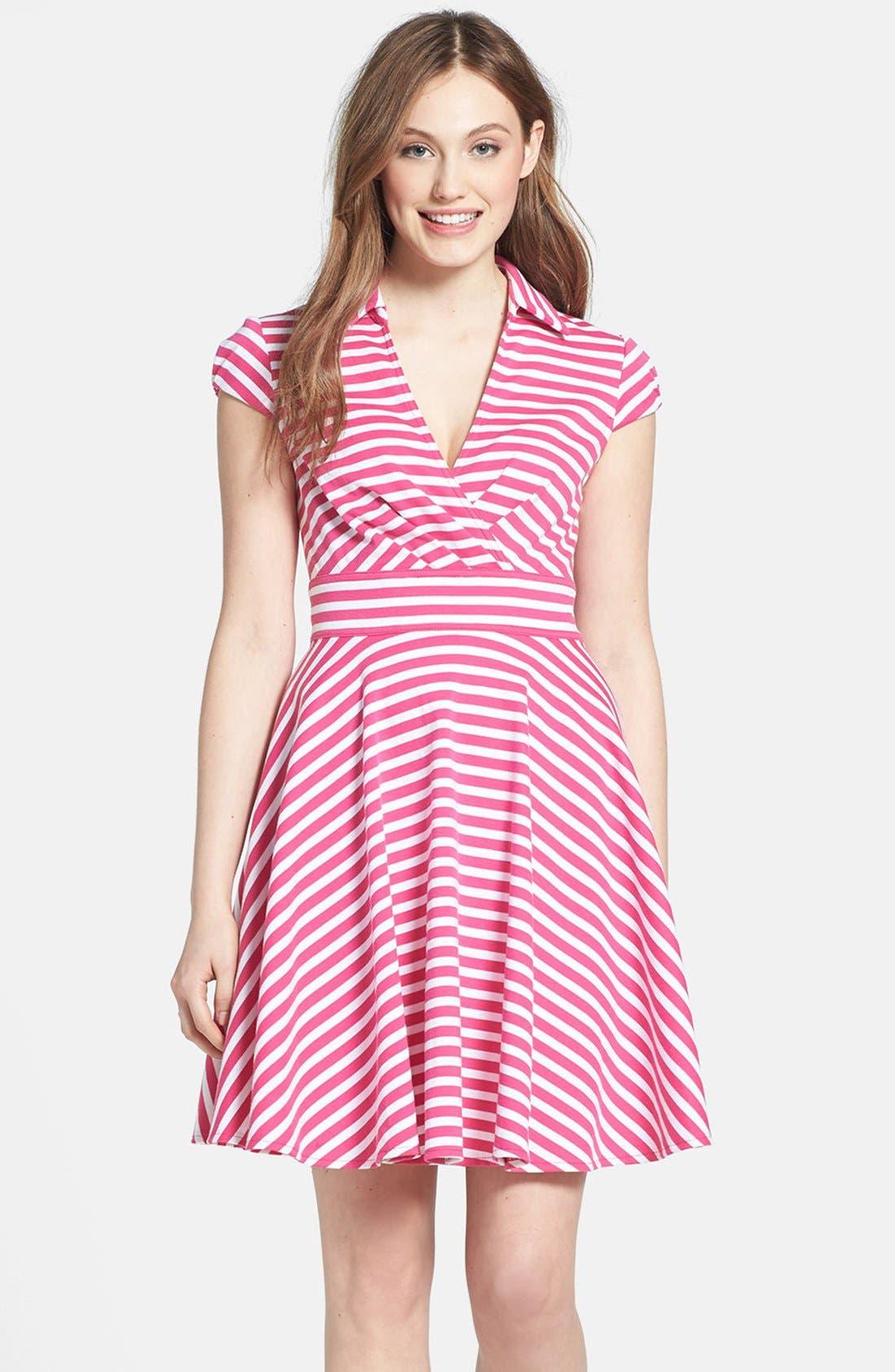 Main Image - Betsey Johnson Stripe Fit & Flare Dress
