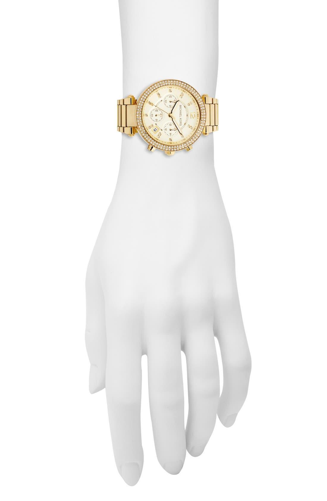 Michael Kors 'Parker' Chronograph Bracelet Watch, 39mm,                             Alternate thumbnail 5, color,                             Gold