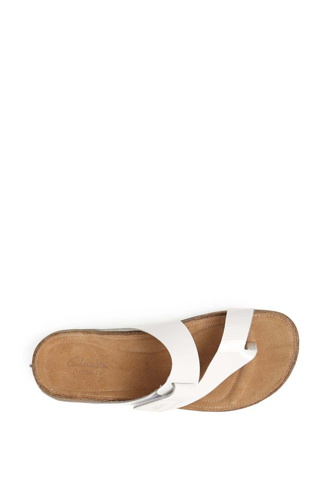 'Perri Coast' Leather Thong Sandal,                             Alternate thumbnail 3, color,                             White Patent