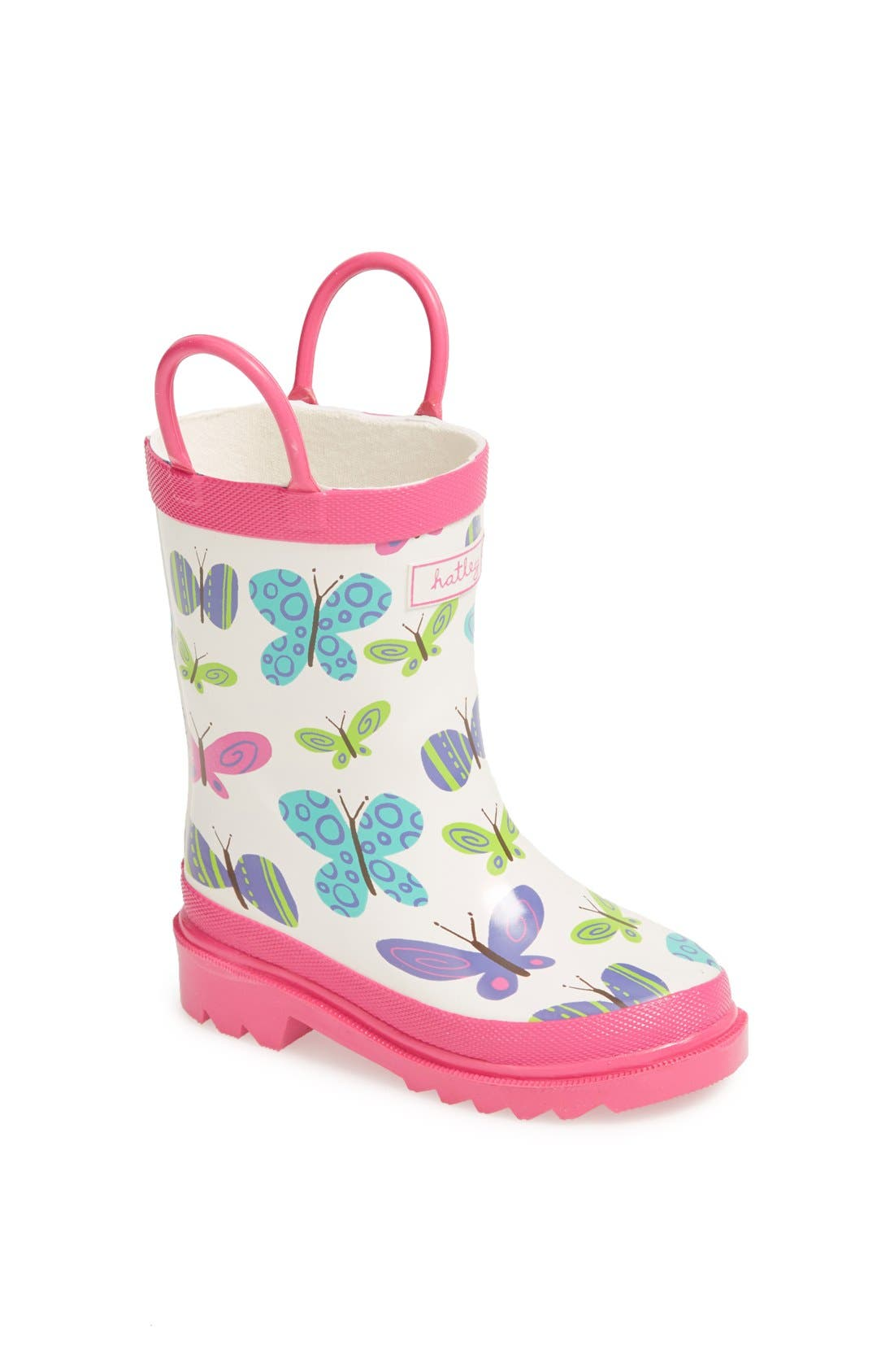 Main Image - Hatley 'Ditsy Butterflies' Rain Boot (Walker & Toddler)
