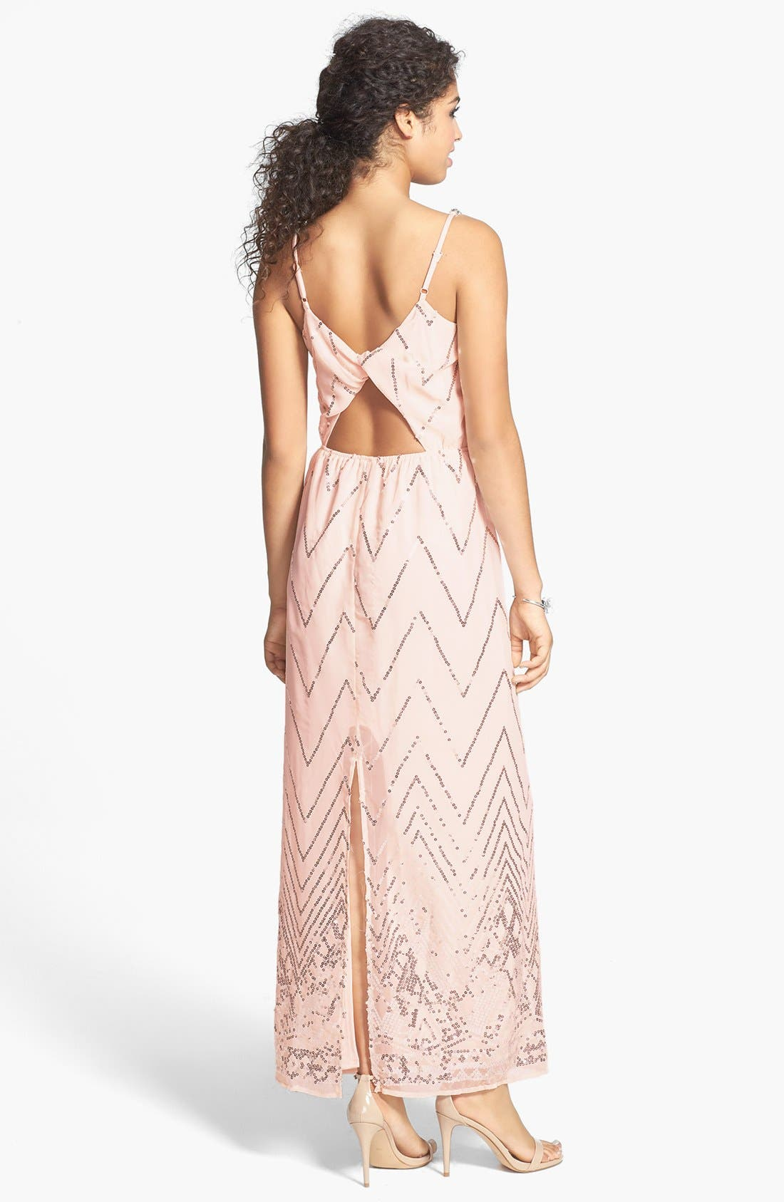 Alternate Image 2  - Secret Charm Twist Back Chevron Sequin Maxi Dress (Juniors)