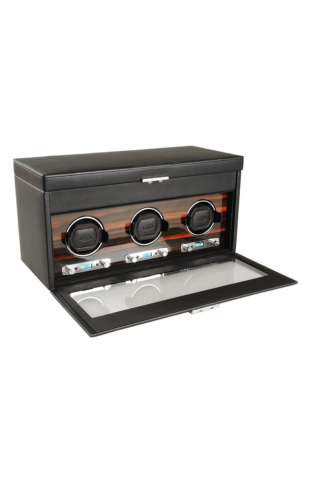 Roadster Triple Watch Winder & Case,                             Alternate thumbnail 3, color,                             Black