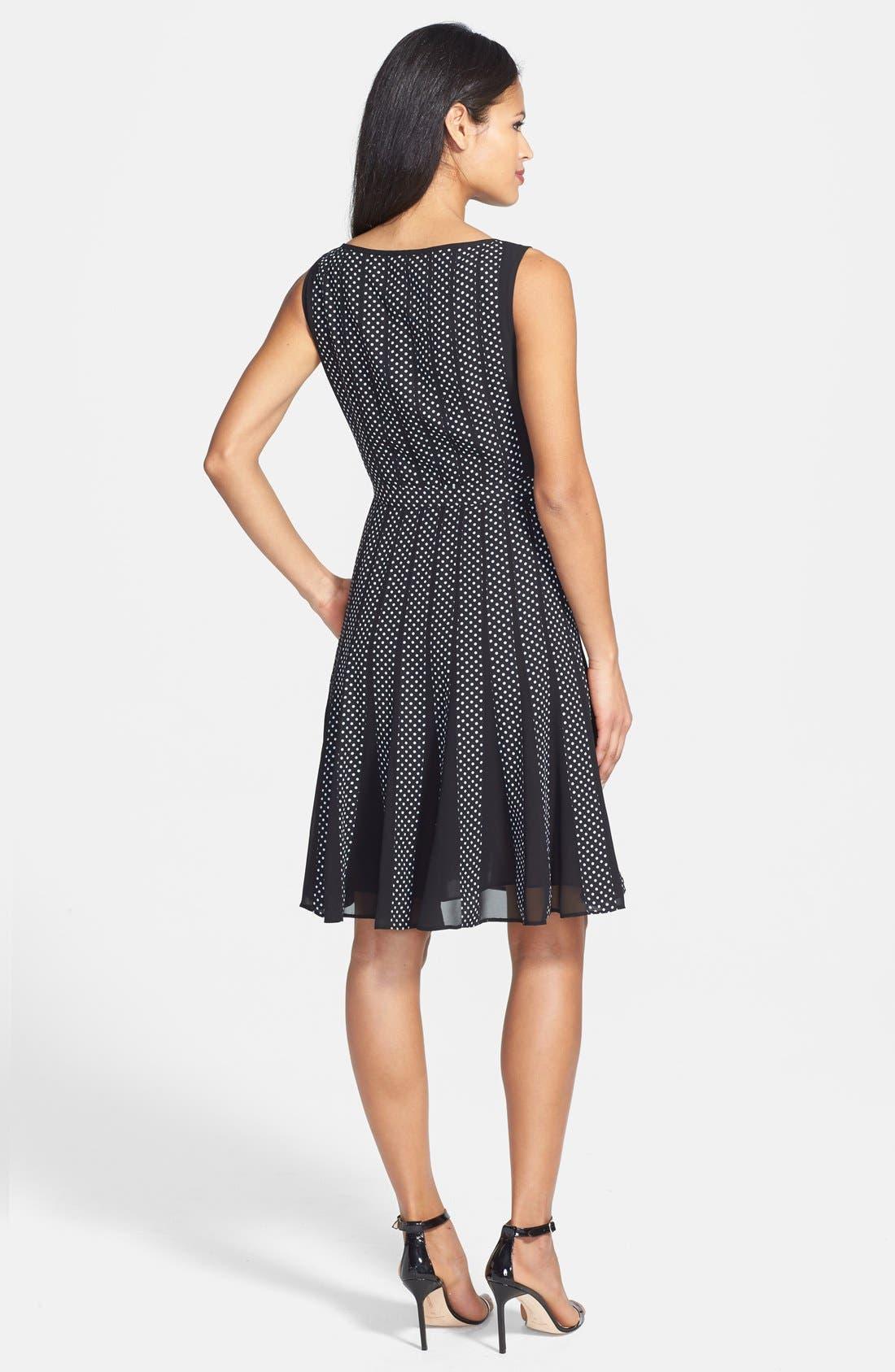 Alternate Image 2  - Adrianna Papell Polka Dot Chiffon Fit & Flare Dress