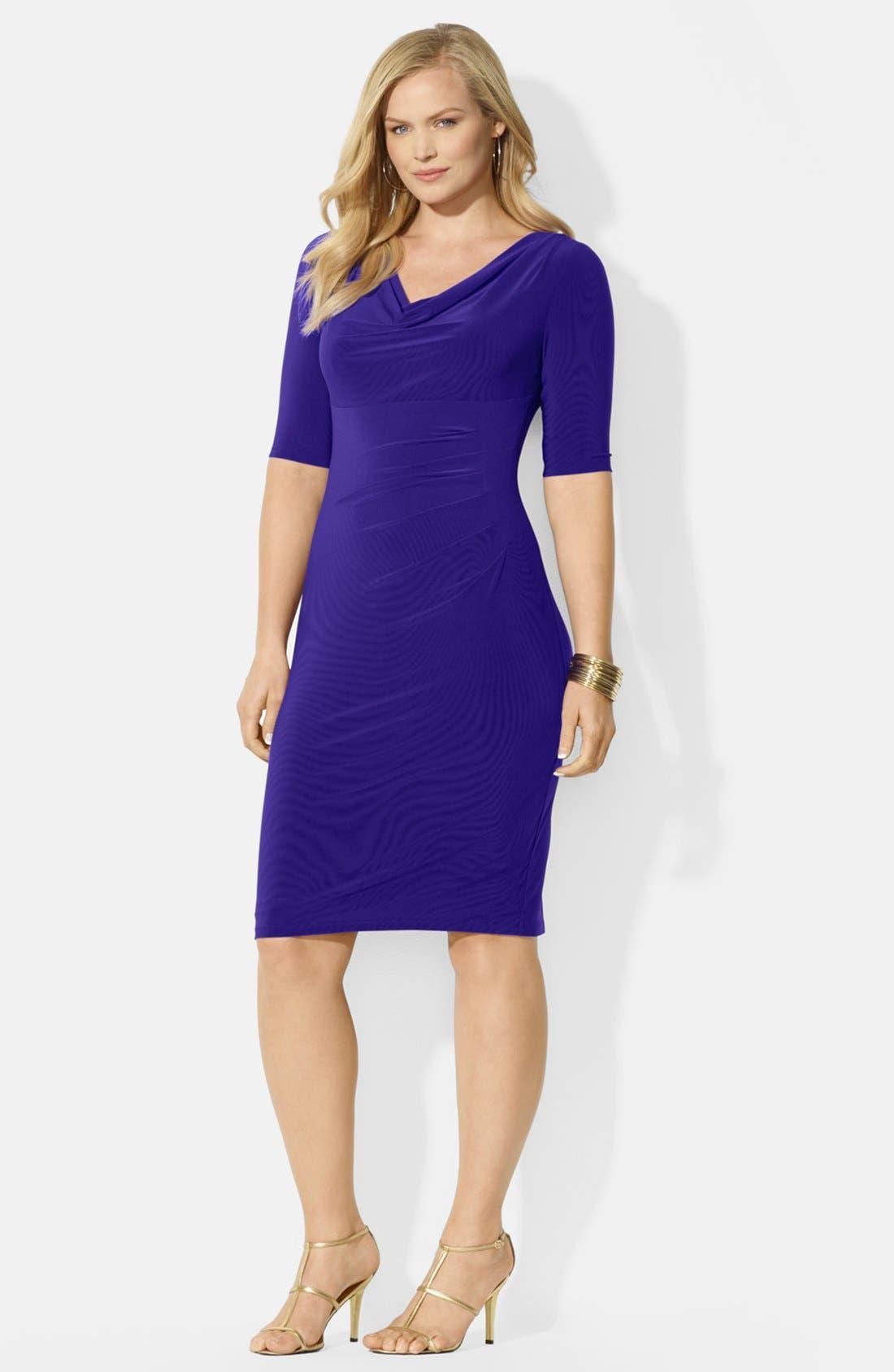 Main Image - Lauren Ralph Lauren Cowl Neck Matte Jersey Dress (Plus Size)