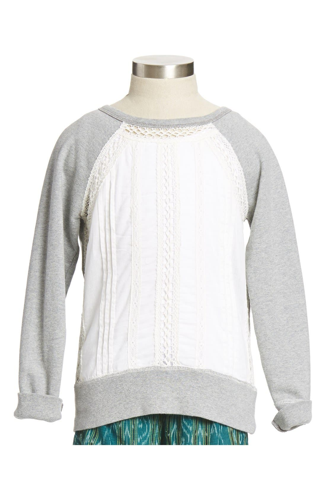 Main Image - Peek 'Sparrow' Woven Panel Crewneck Sweatshirt (Toddler Girls, Little Girls & Big Girls)